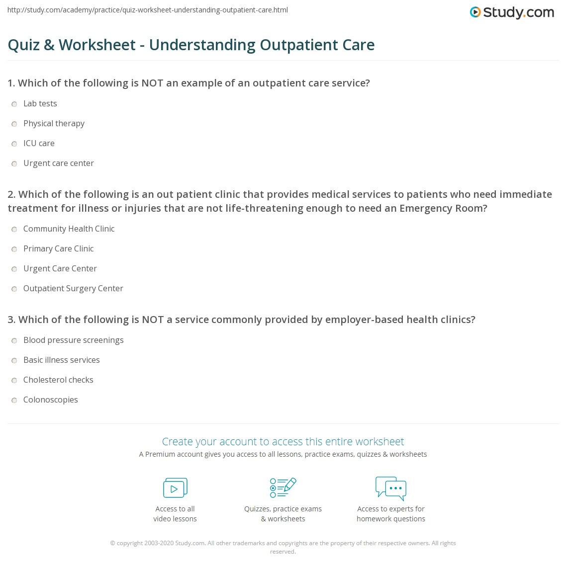 quiz & worksheet - understanding outpatient care | study