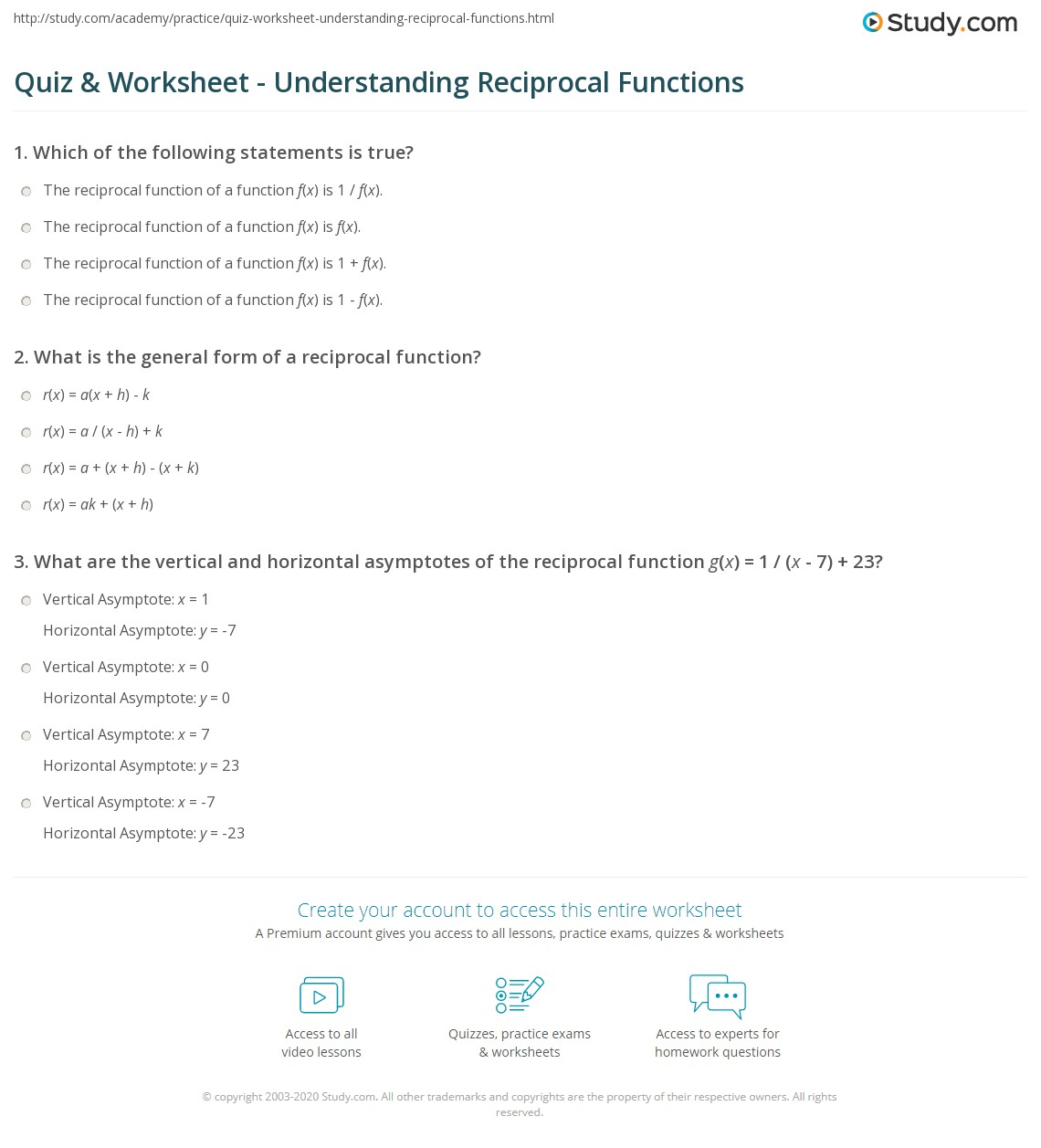 quiz & worksheet - understanding reciprocal functions | study