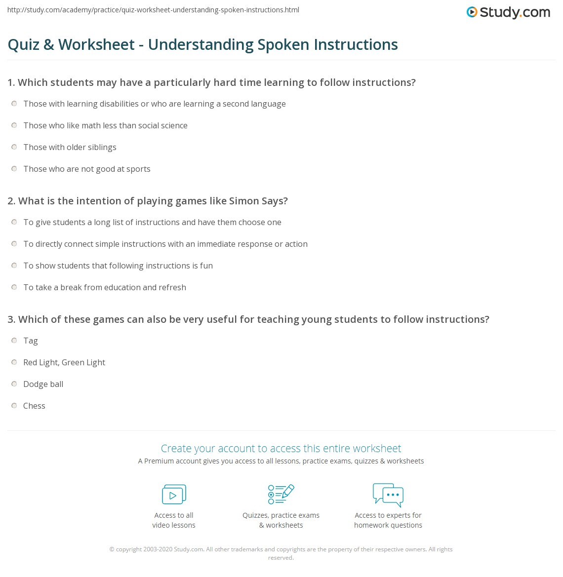 Worksheets Following Directions Worksheet Middle School worksheet following directions middle school quiz understanding spoken instructions study com print listenin