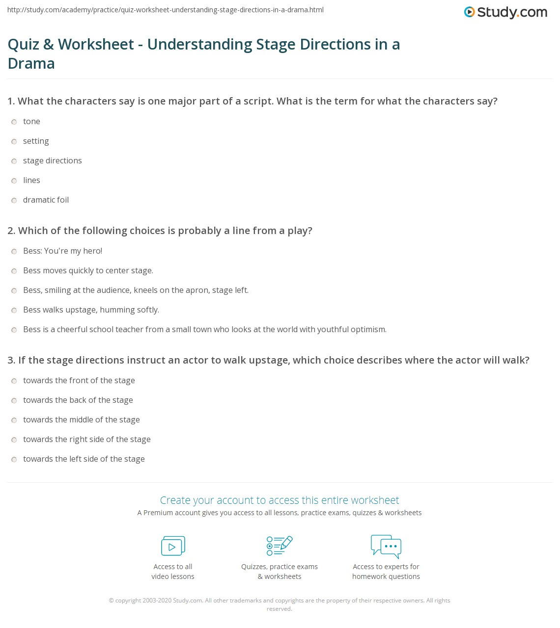 quiz worksheet understanding stage directions in a drama. Black Bedroom Furniture Sets. Home Design Ideas
