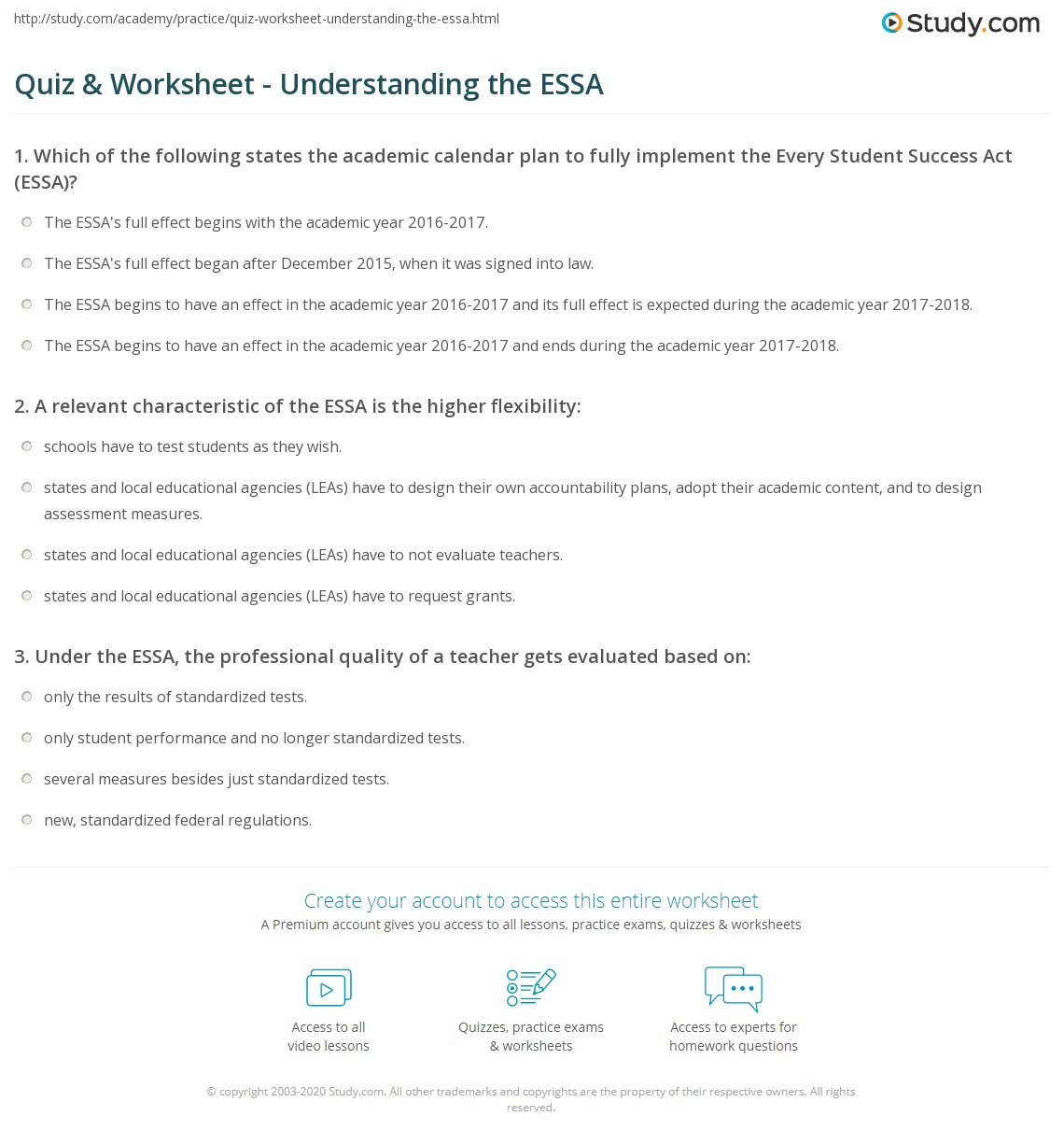 quiz worksheet understanding the essa study com print every student succeeds act summary pros cons worksheet