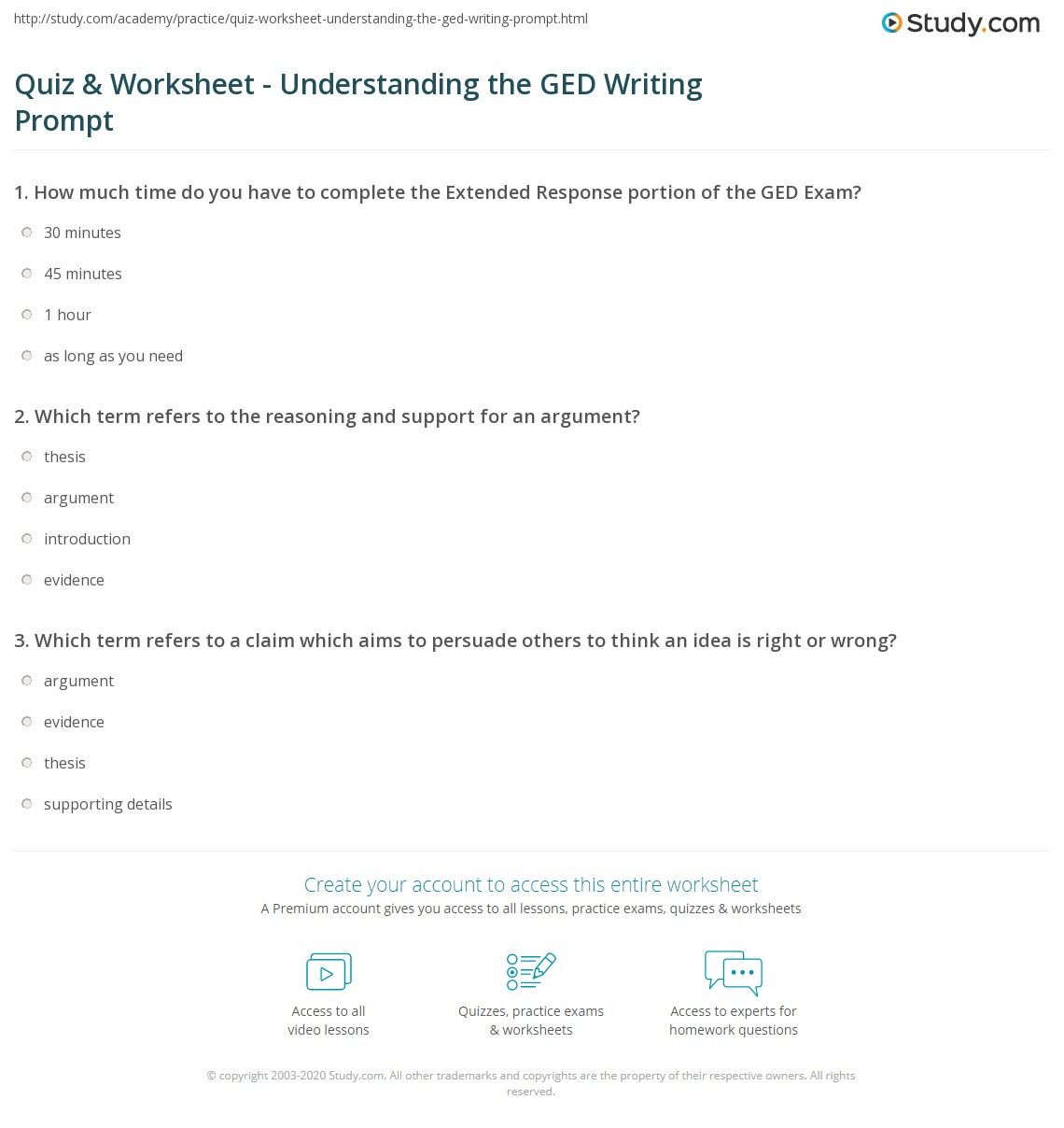 Quiz & Worksheet Understanding the GED Writing Prompt
