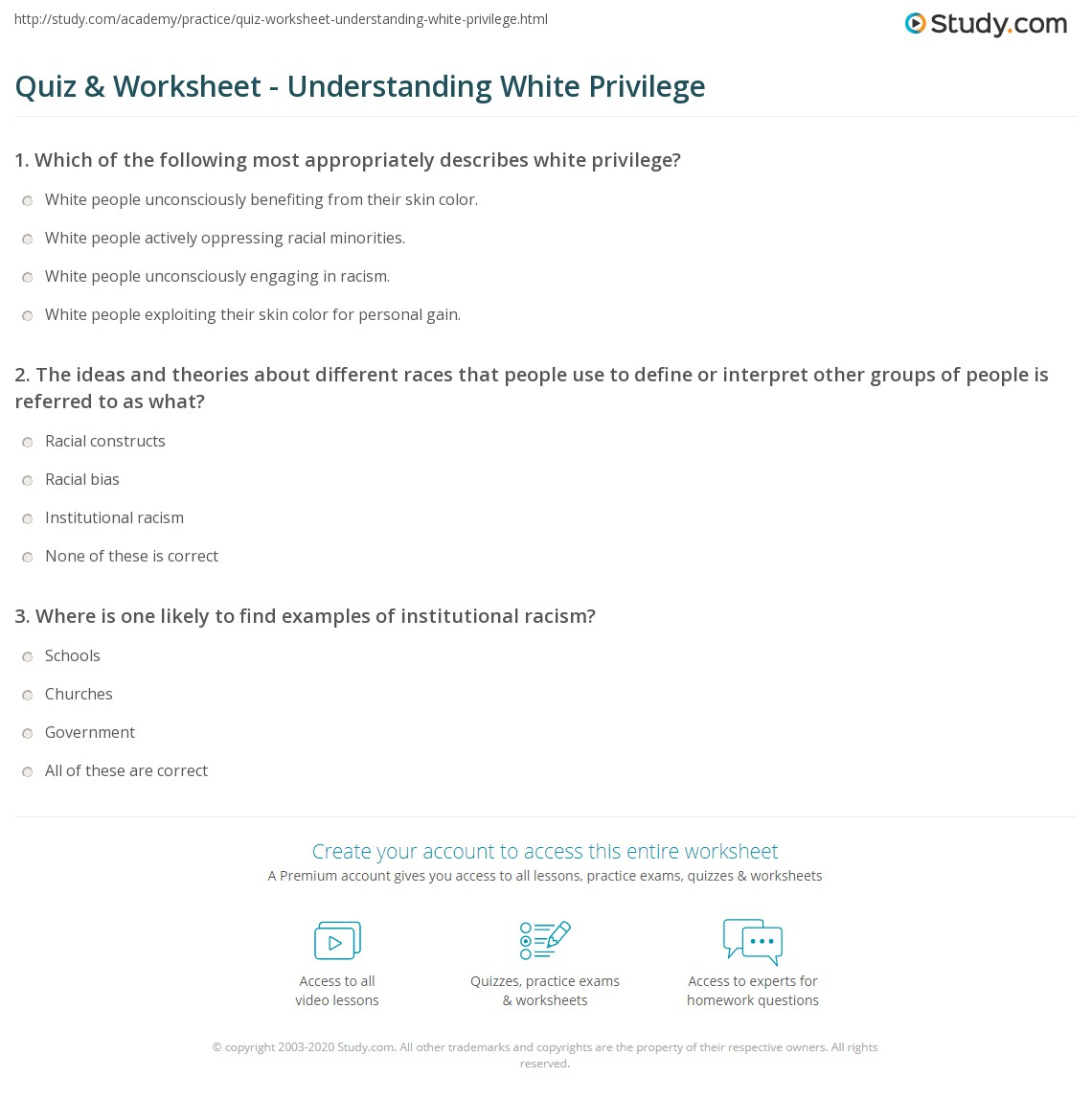 Quiz Worksheet Understanding White Privilege Study