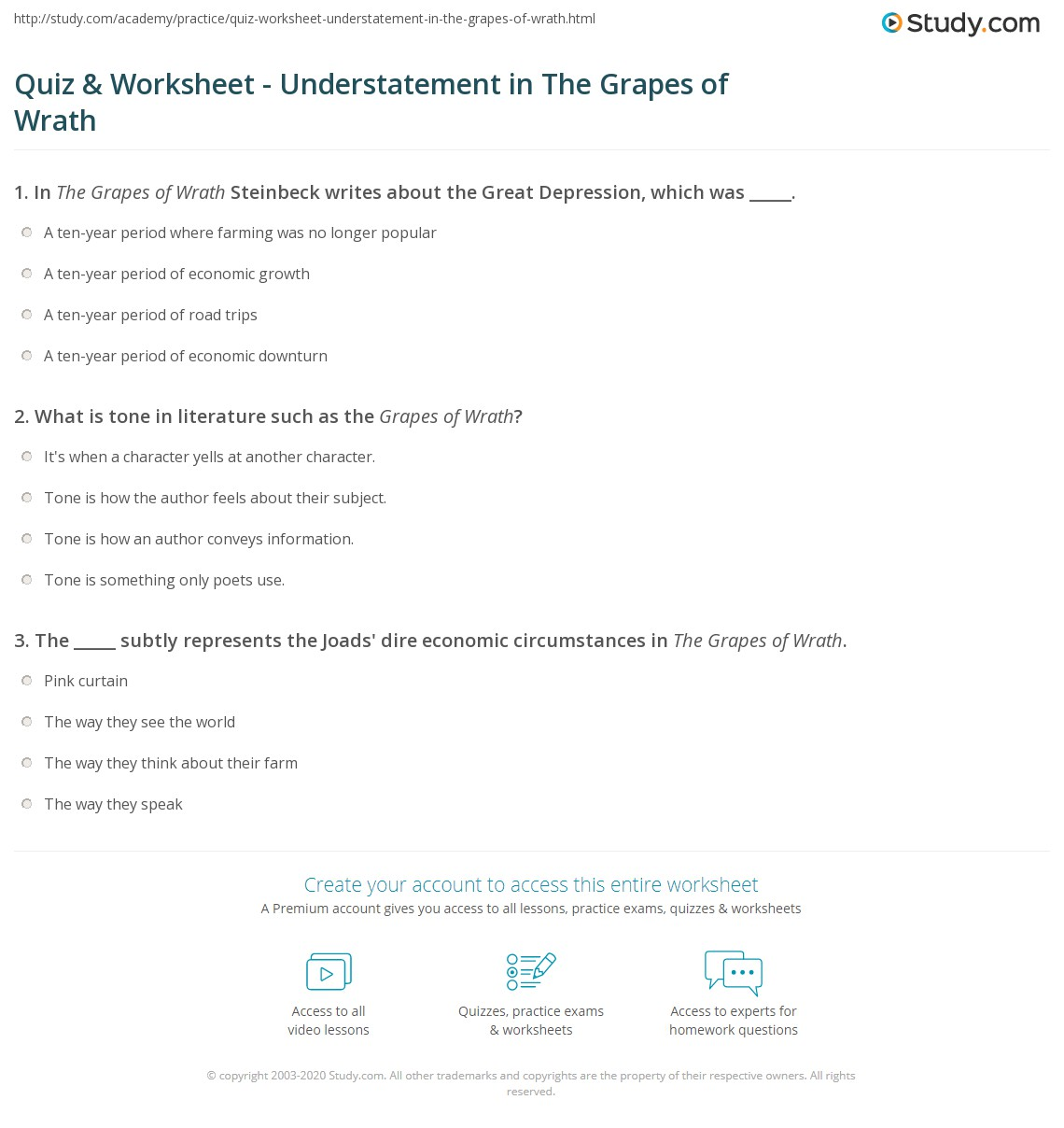 Workbooks understatement worksheets : Quiz & Worksheet - Understatement in The Grapes of Wrath | Study.com
