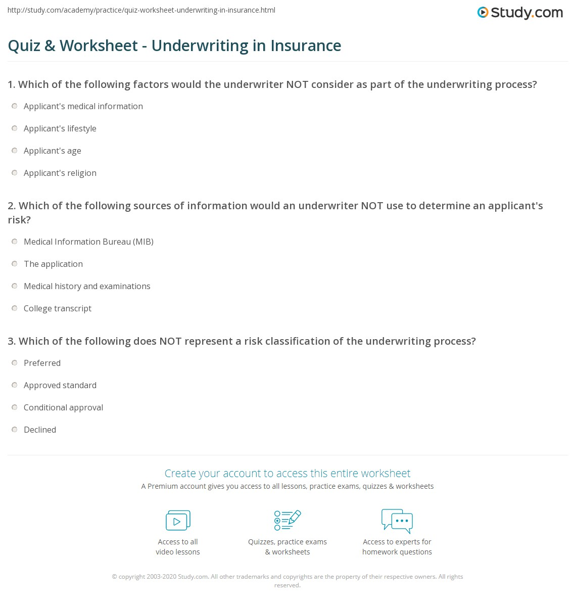 Quiz worksheet underwriting in insurance study print insurance underwriting process worksheet 1betcityfo Image collections