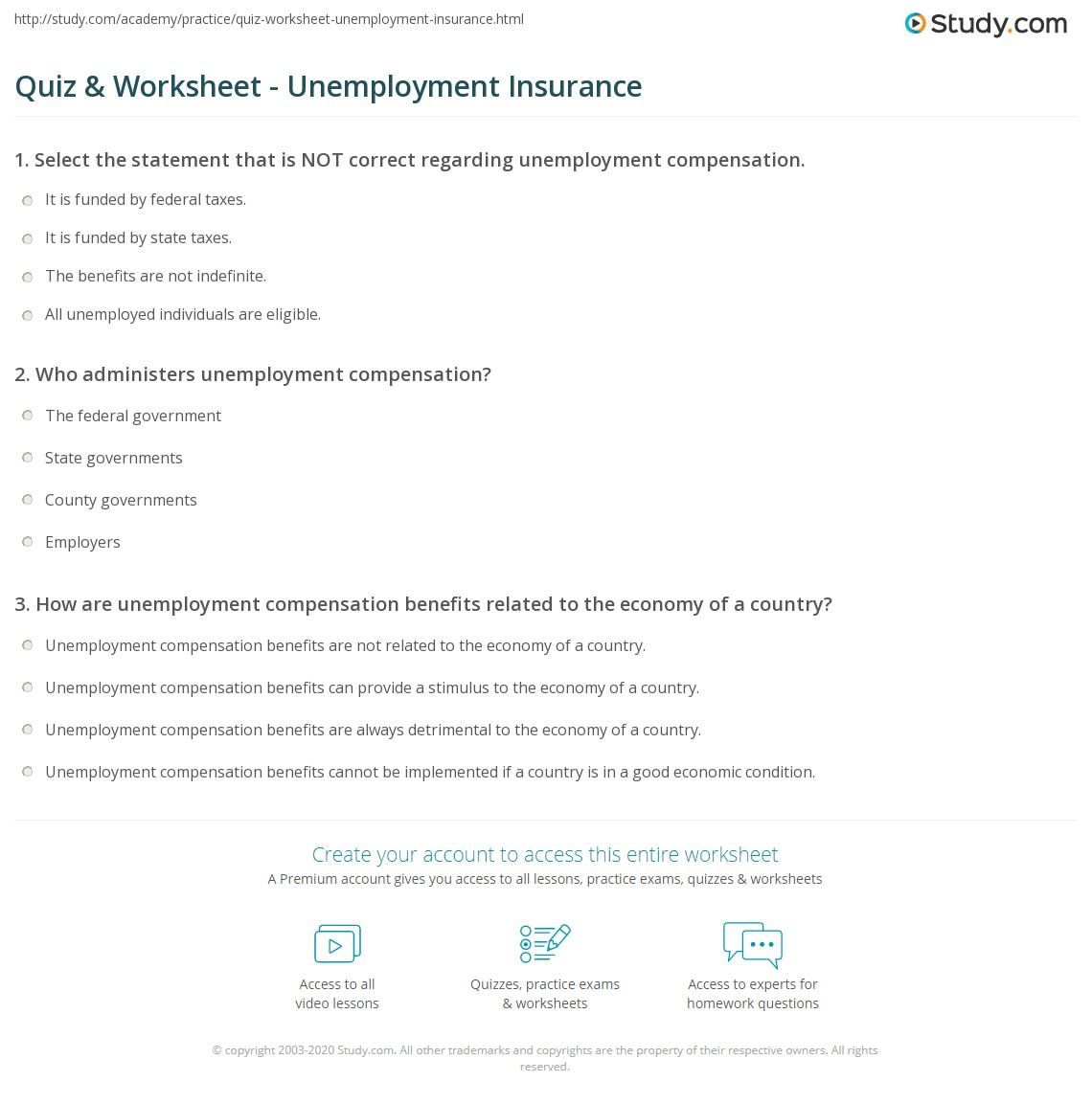 Quiz Worksheet Unemployment Insurance Study