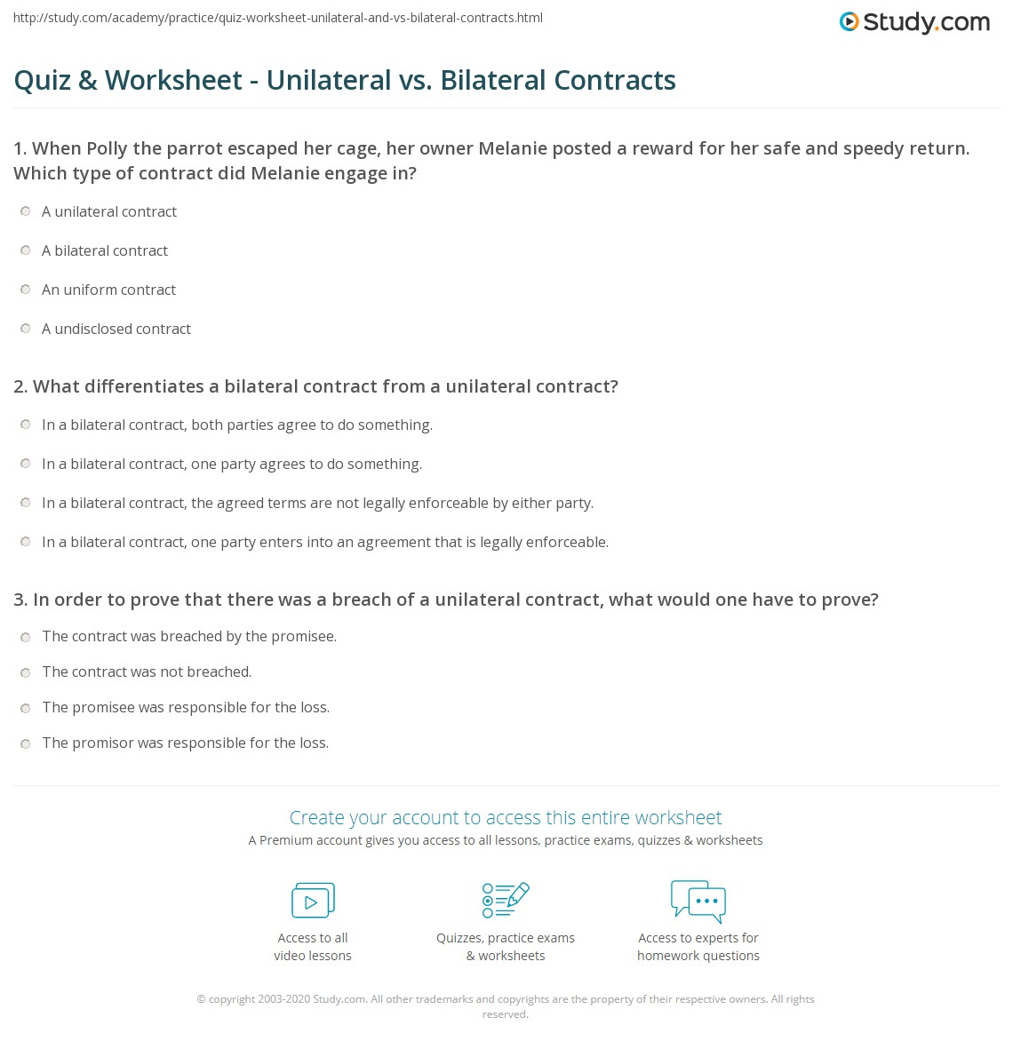 Quiz Worksheet Unilateral Vs Bilateral Contracts Study