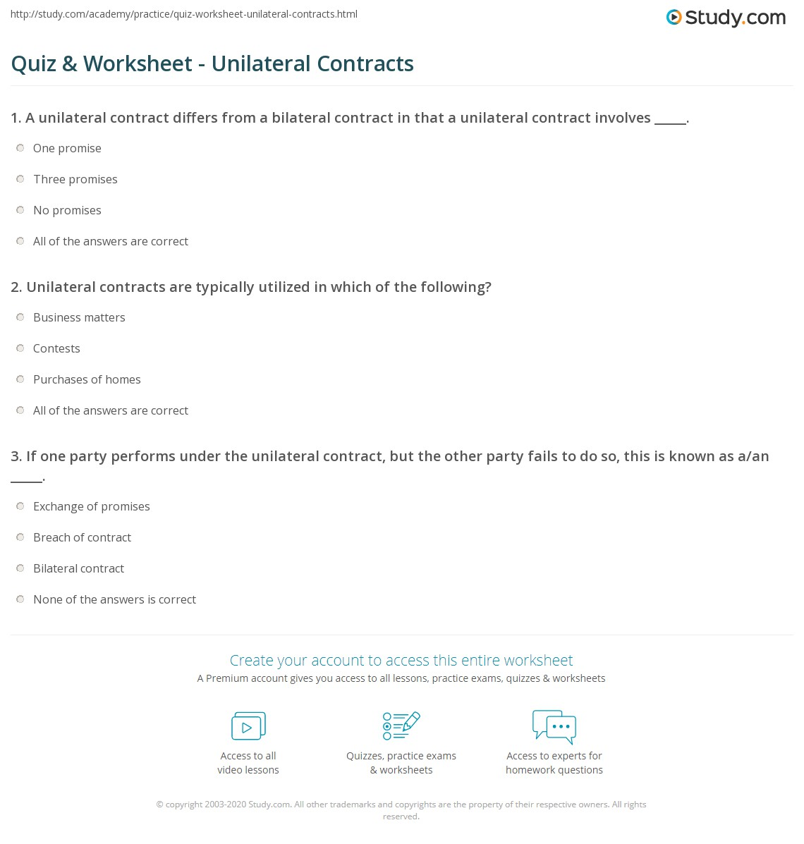 Quiz Worksheet Unilateral Contracts Study