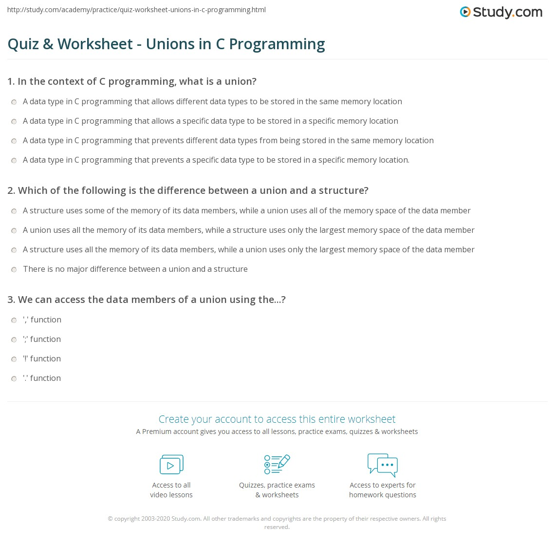 Quiz & Worksheet - Unions in C Programming | Study.com