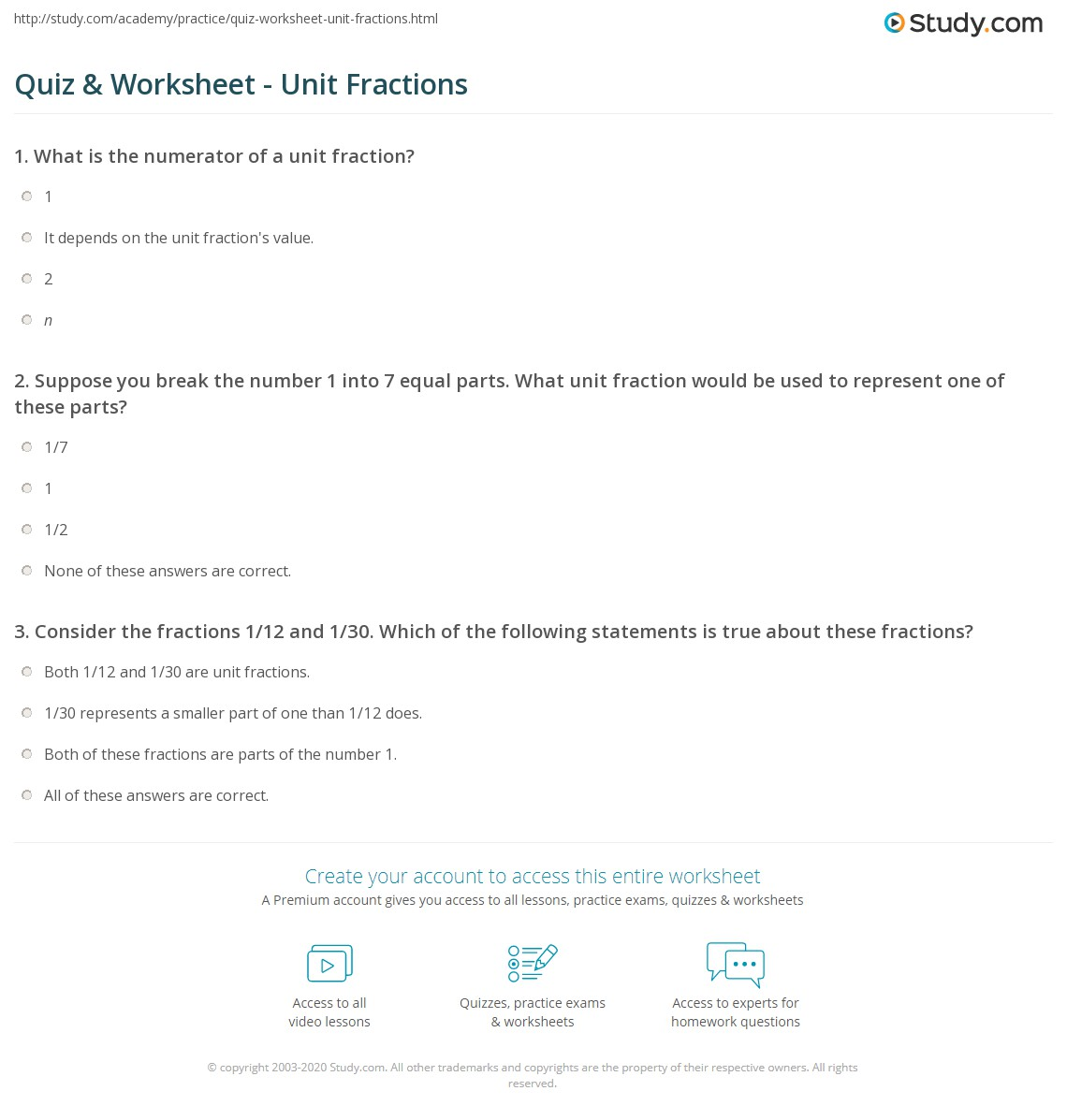 quiz & worksheet - unit fractions | study