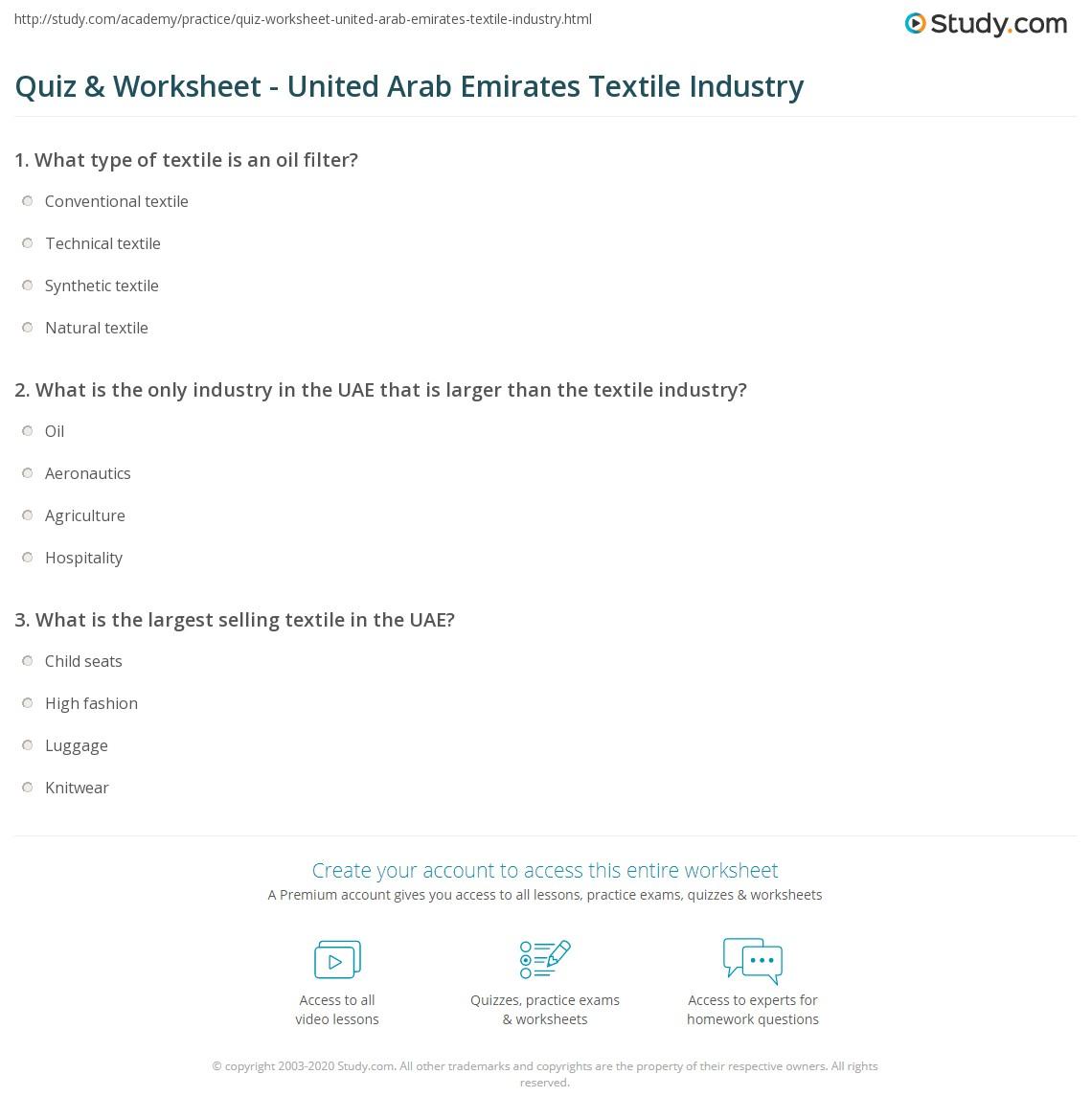 Quiz worksheet united arab emirates textile industry study print textile industry in uae worksheet ibookread PDF