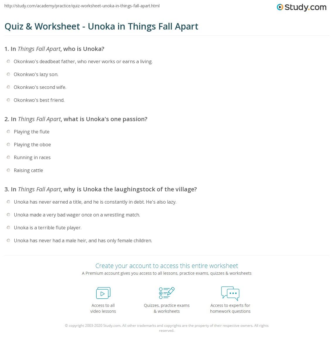 Quiz & Worksheet - Unoka In Things Fall Apart