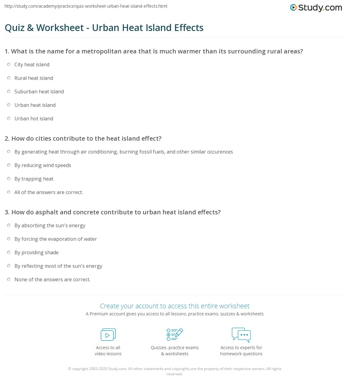 quiz worksheet urban heat island effects. Black Bedroom Furniture Sets. Home Design Ideas