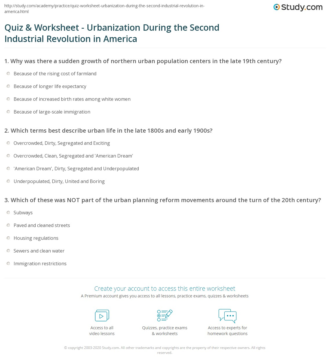quiz worksheet urbanization during the second industrial  print urbanization during the second industrial revolution in america effects problems worksheet