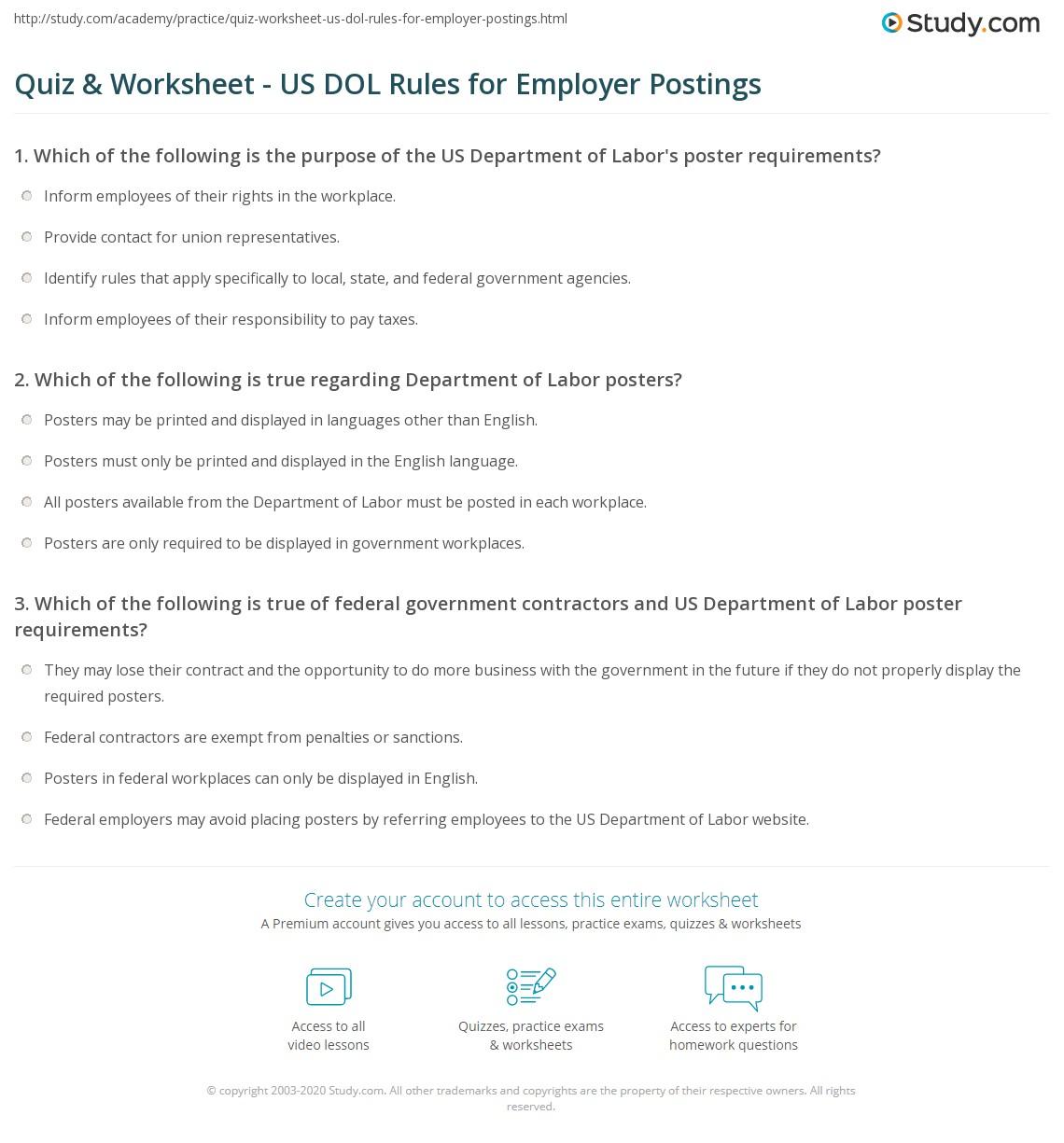 Quiz & Worksheet - US DOL Rules for Employer Postings | Study.com