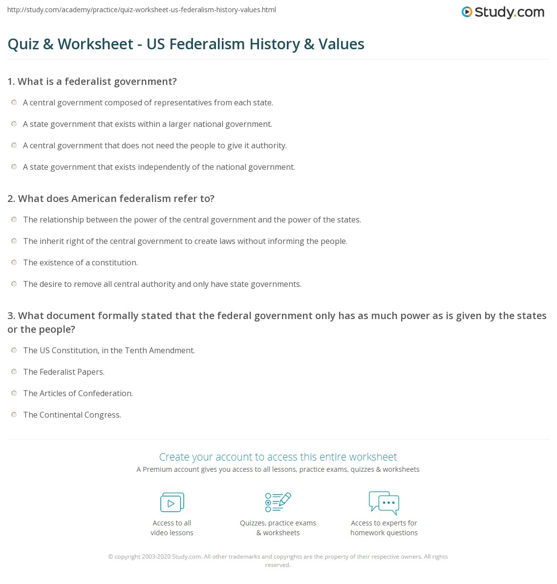 Quiz & Worksheet US Federalism History & Values