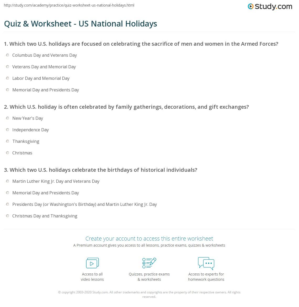 Quiz & Worksheet - US National Holidays | Study.com