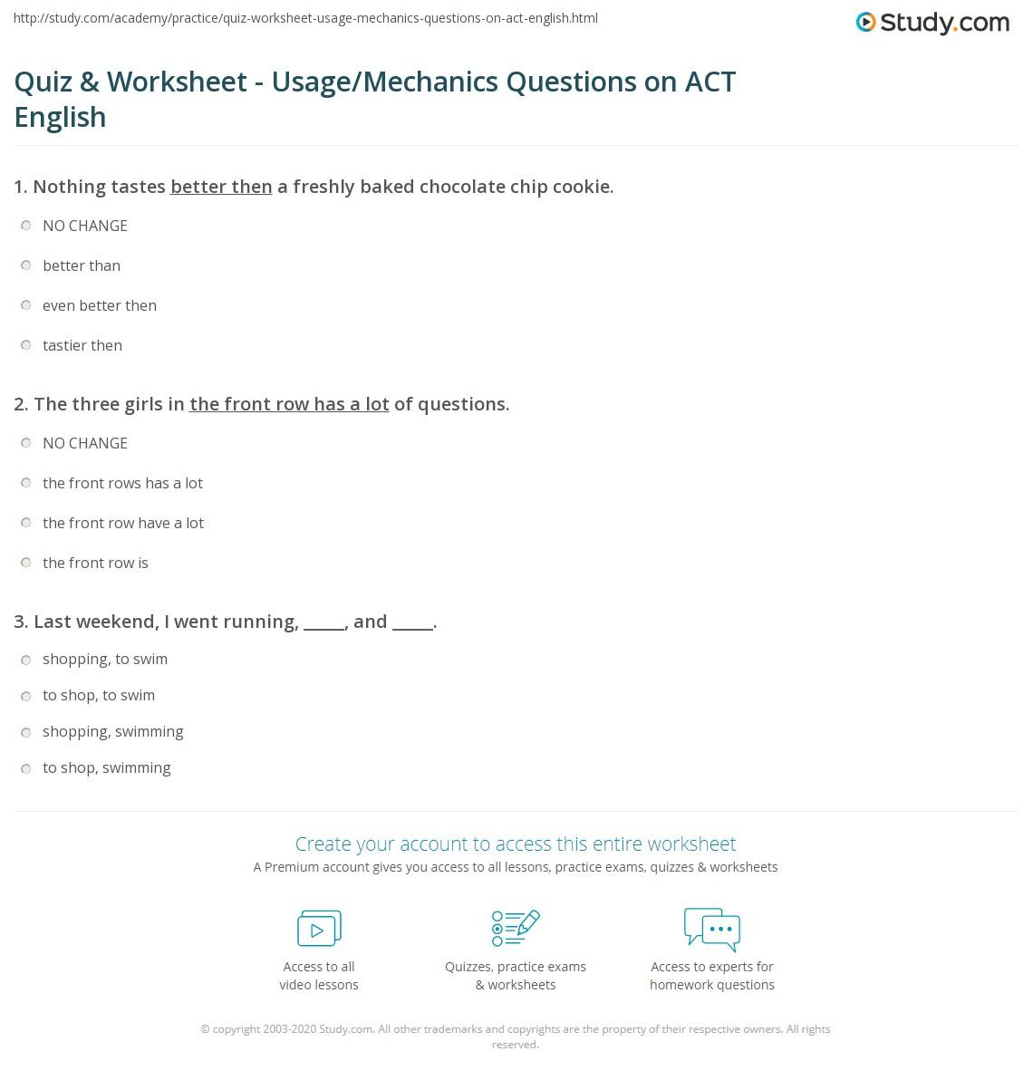 Quiz Worksheet Usage Mechanics Questions On Act