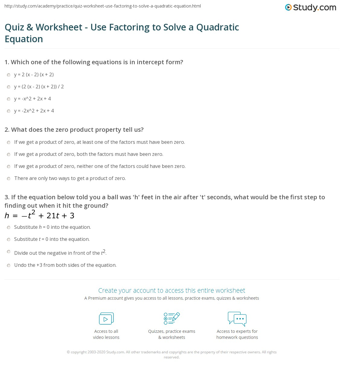 Quiz & Worksheet - Use Factoring to Solve a Quadratic Equation ...