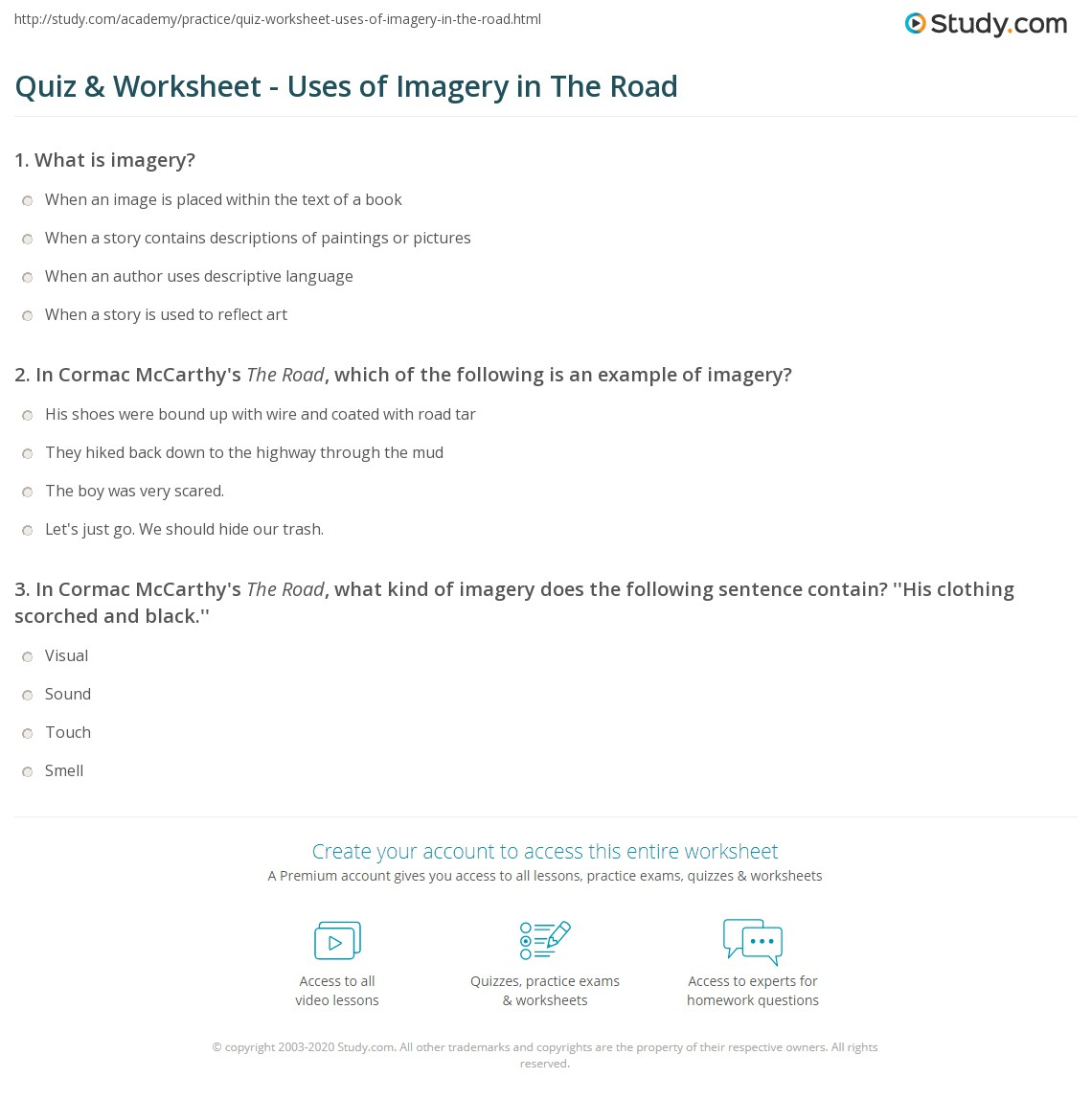 Quiz Worksheet Uses Of Imagery In The Road Studycom