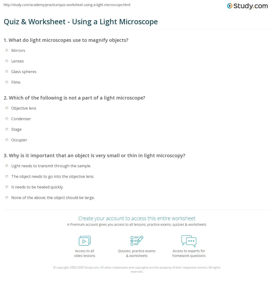 Worksheets Microscope Worksheets quiz worksheet using a light microscope study com print definition uses parts worksheet