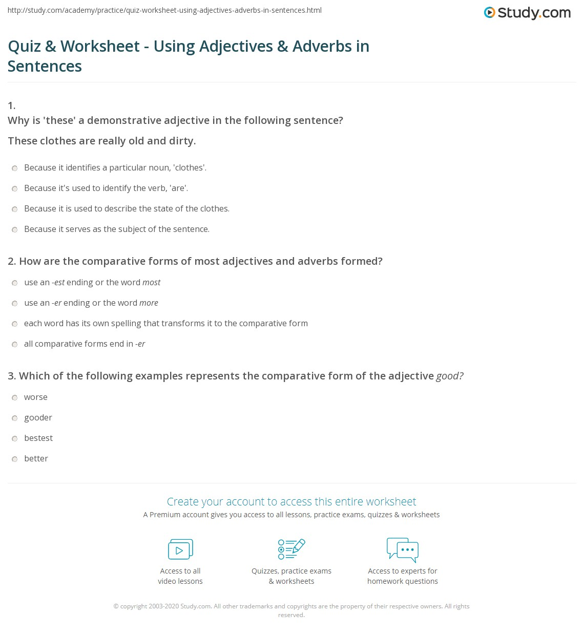Quiz Worksheet Using Adjectives Adverbs In Sentences Study