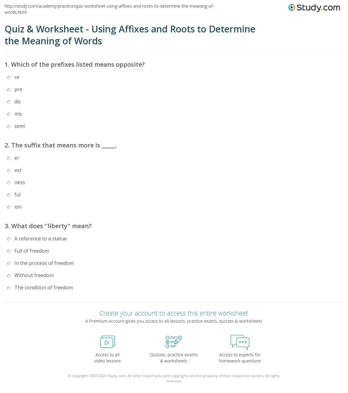 Quiz Worksheet Using Affixes and Roots to Determine the – Roots and Affixes Worksheets