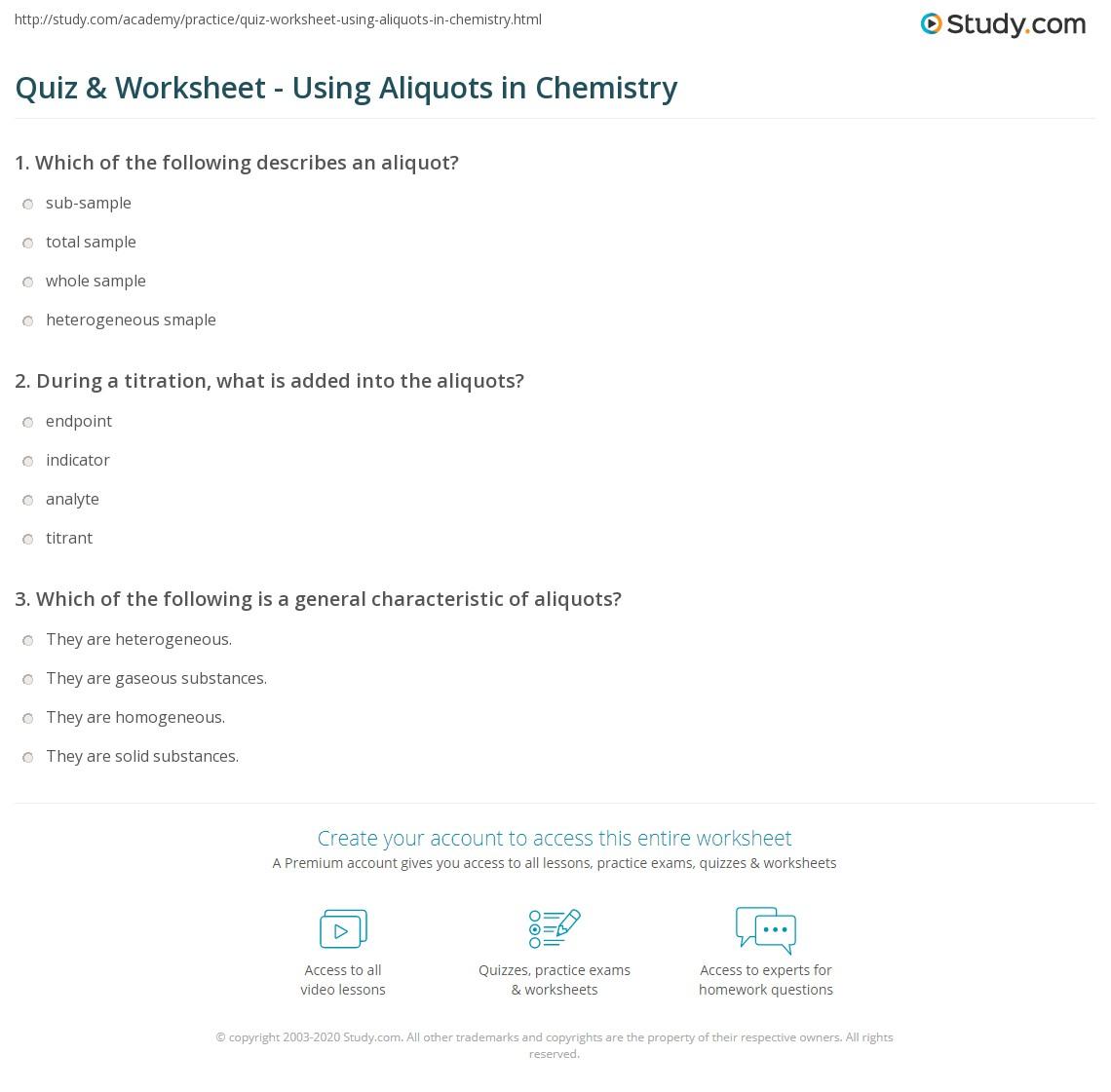 Quiz Worksheet Using Aliquots in Chemistry – Titration Worksheet