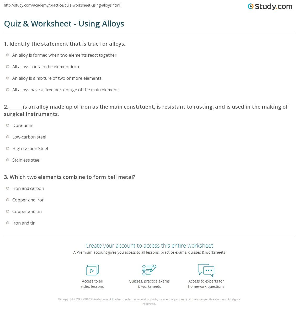 Quiz & Worksheet - Using Alloys | Study.com