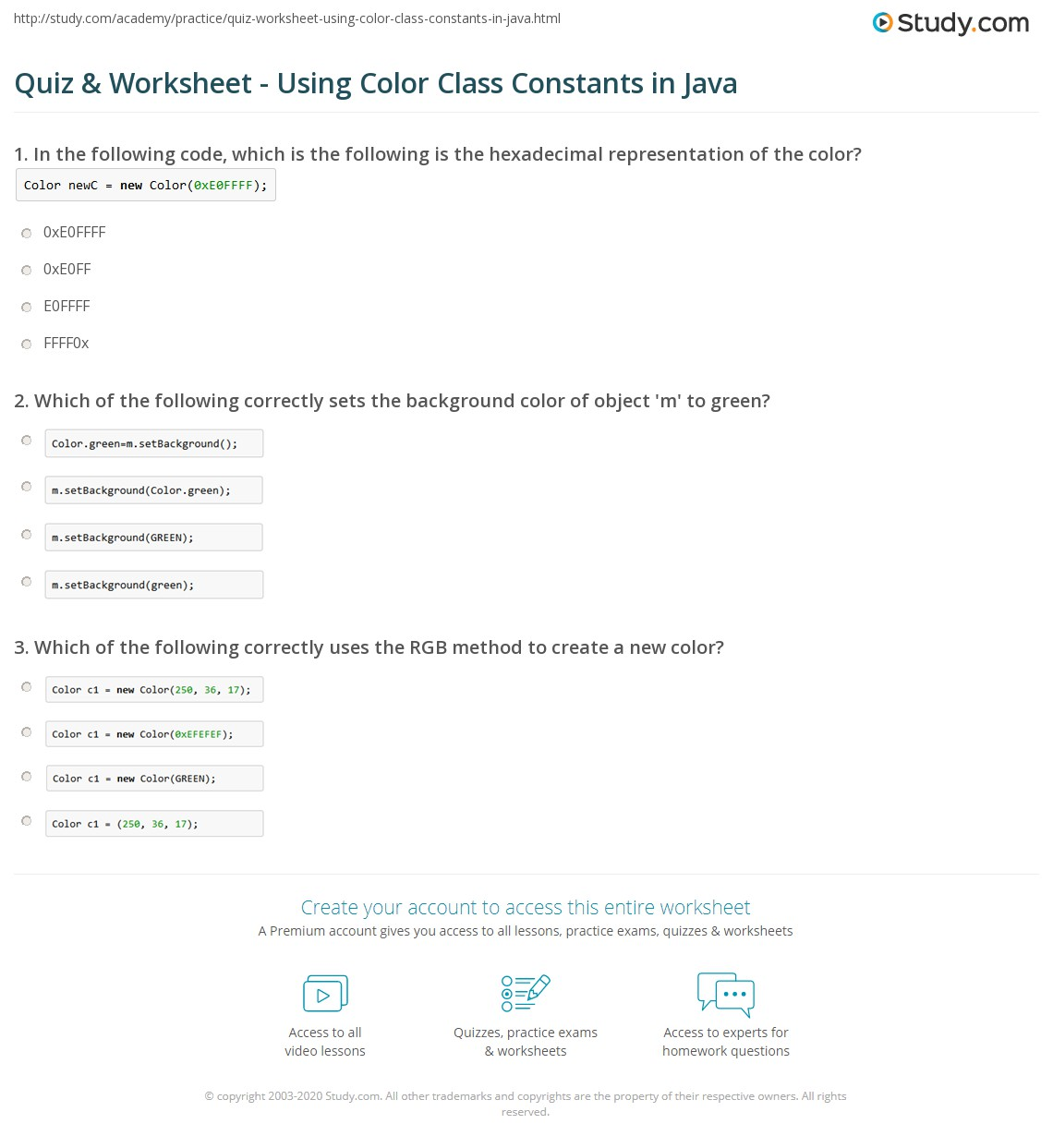 Print Colors In Java Class Constants Codes Worksheet