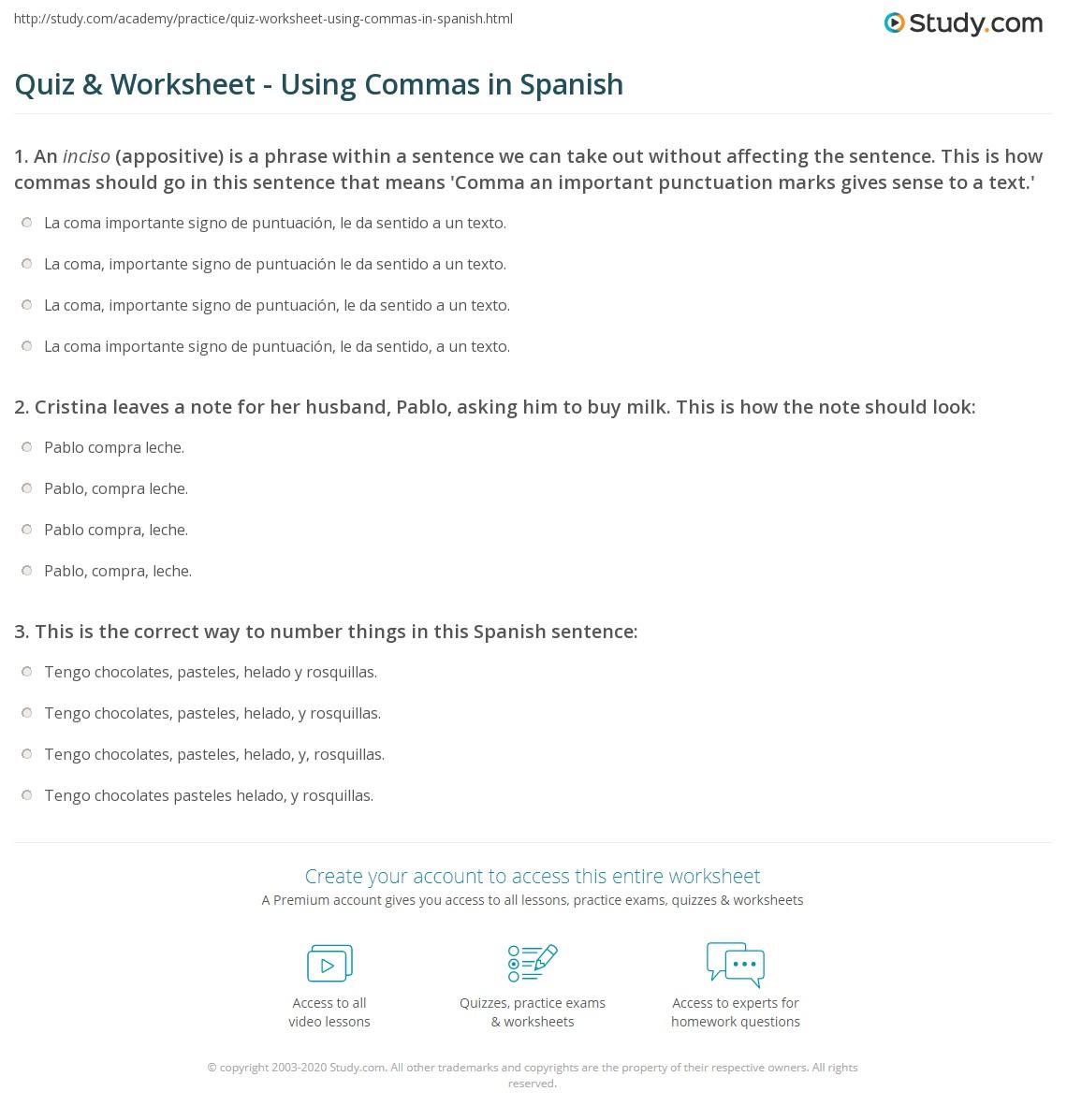 Quiz Worksheet Using Commas In Spanish Study
