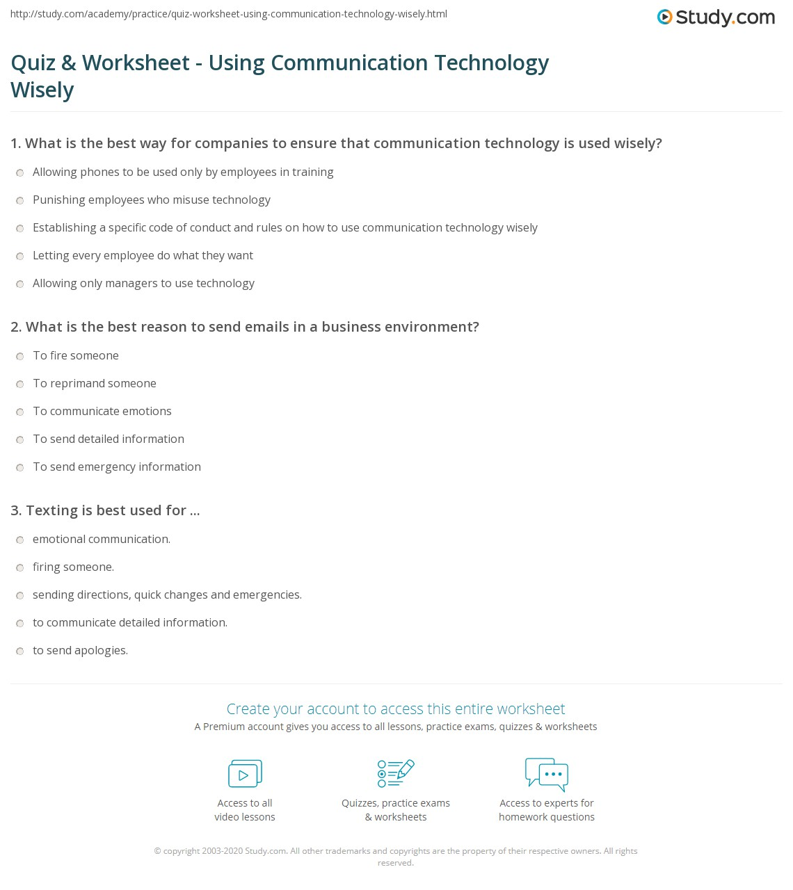 Quiz Worksheet Using Communication Technology Wisely