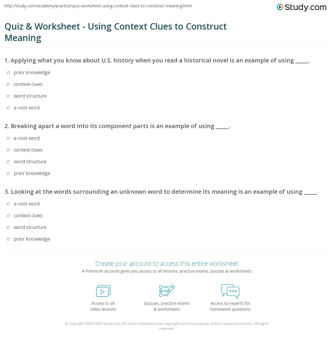 Quiz Worksheet Using Context Clues To Construct Meaning on Page Question Worksheets Math