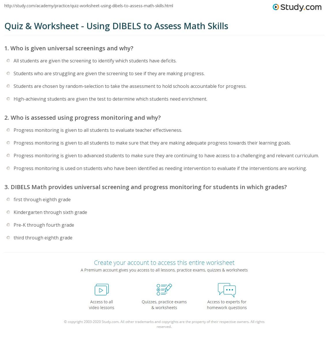 worksheet Basic Math Skills Worksheets quiz worksheet using dibels to assess math skills study com print measuring with dynamic indicators of basic early literacy worksheet