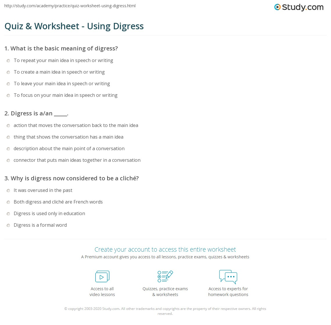 Print How To Use Digress In A Sentence Worksheet