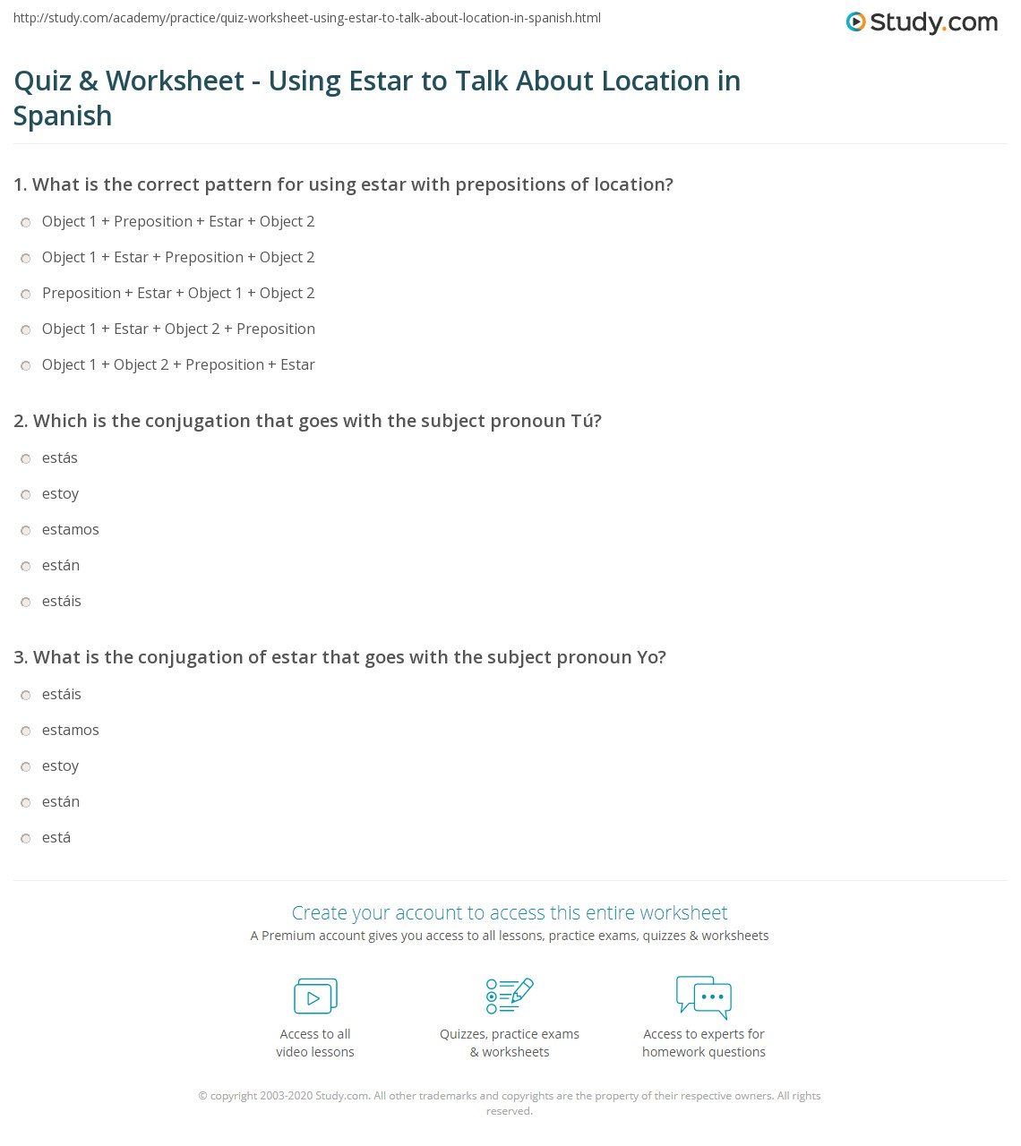quiz worksheet using estar to talk about location in spanish. Black Bedroom Furniture Sets. Home Design Ideas