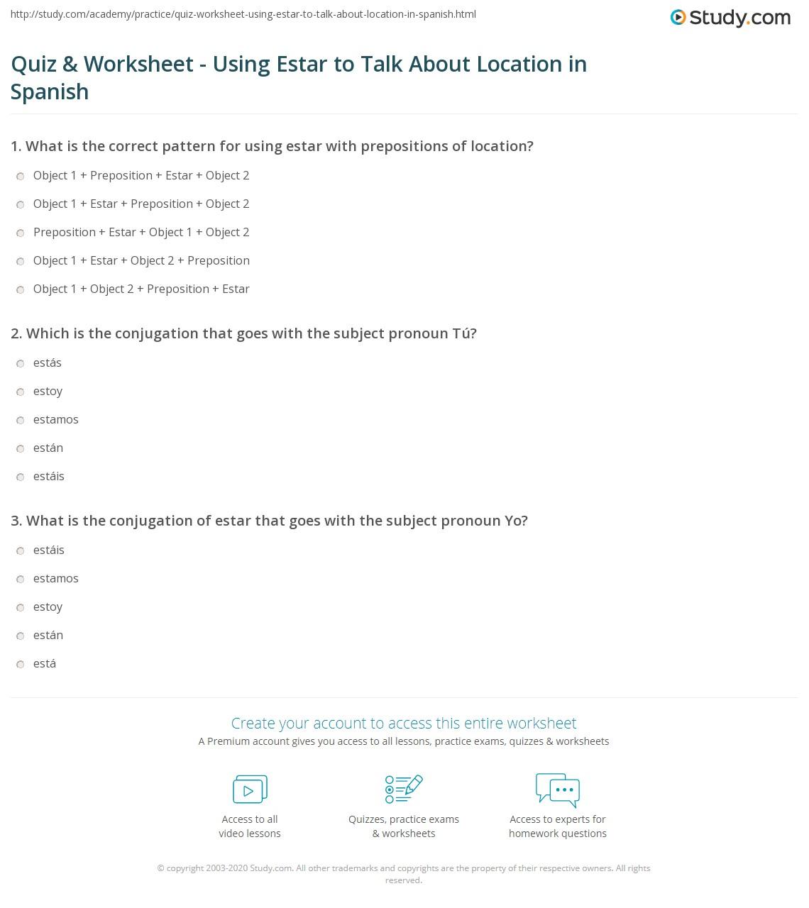 Quiz Worksheet Using Estar to Talk About Location in Spanish – Ser Vs Estar Worksheet