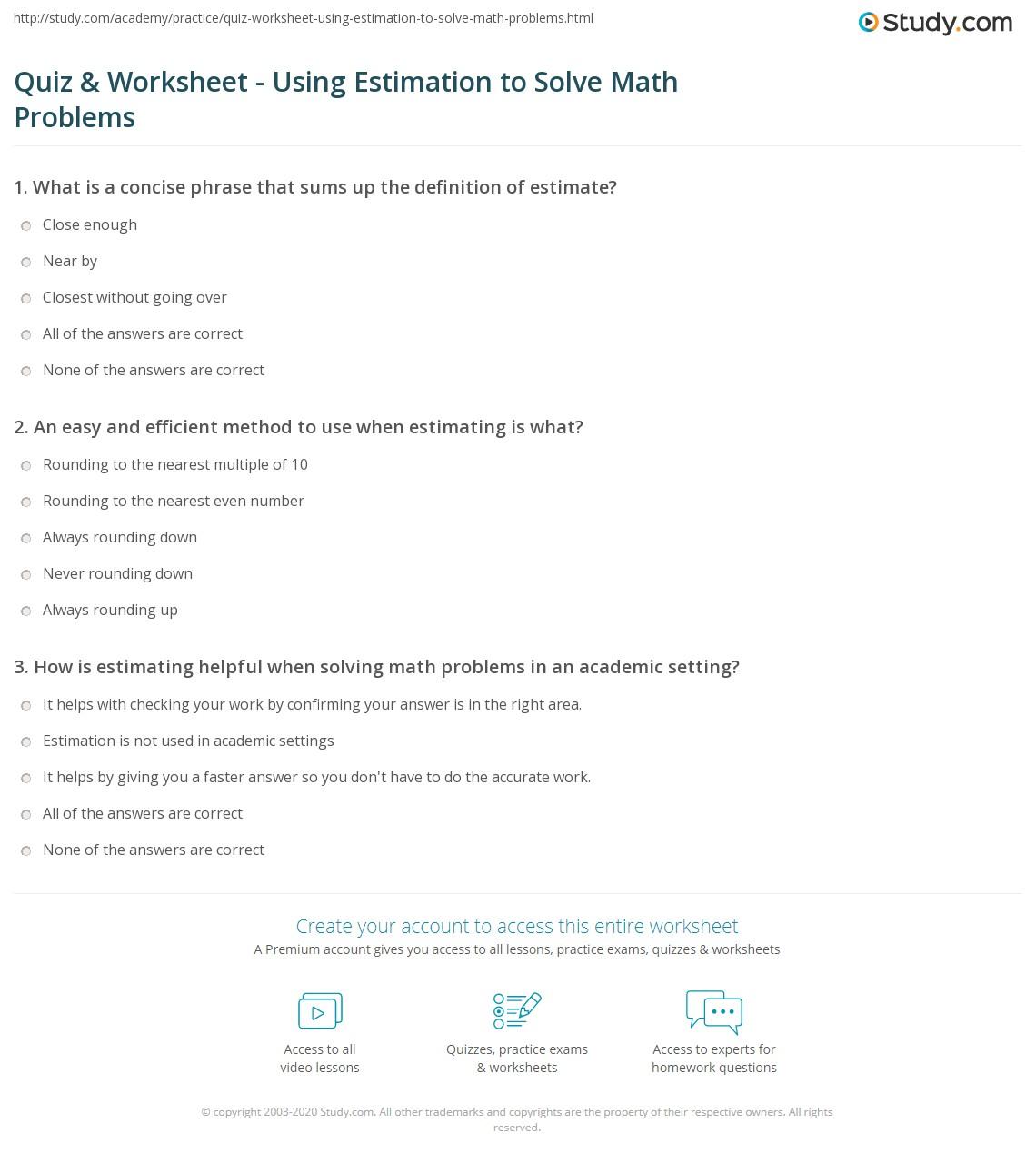 Quiz Worksheet Using Estimation to Solve Math Problems – Math Estimation Worksheets