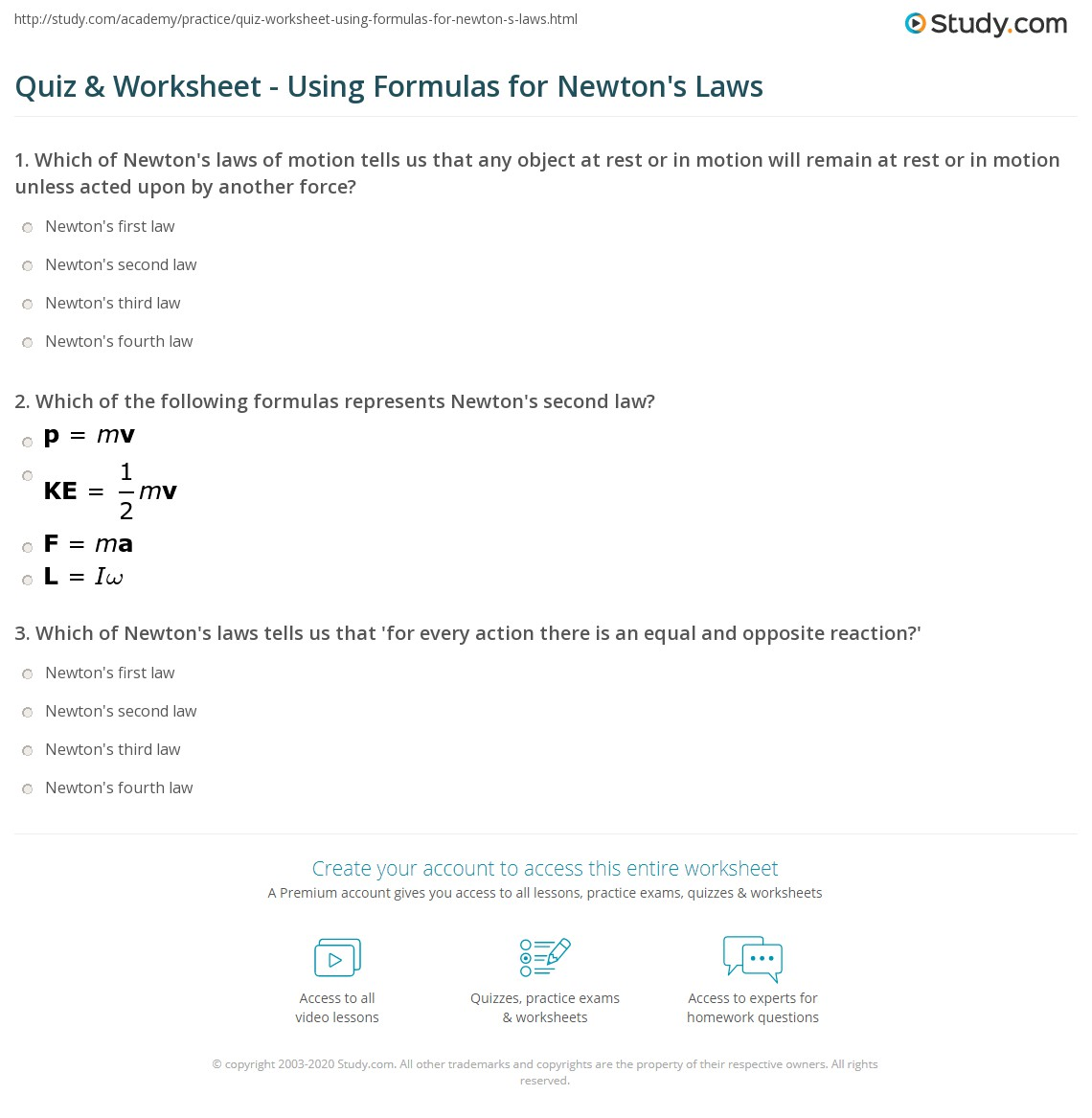 Quiz Worksheet Using Formulas For Newton 39 S Laws