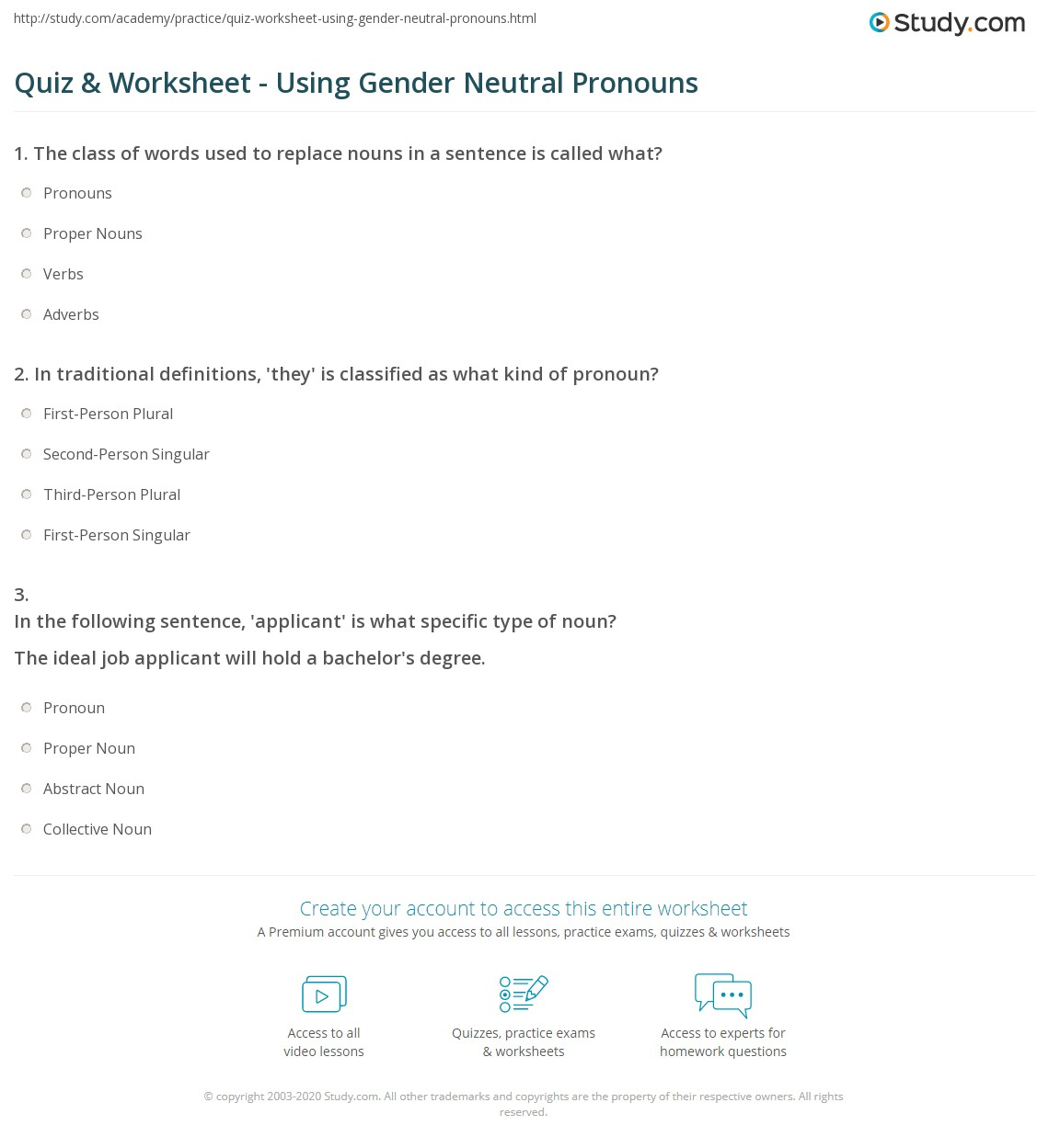 worksheet Abstract Noun Worksheet quiz worksheet using gender neutral pronouns study com print how to use worksheet