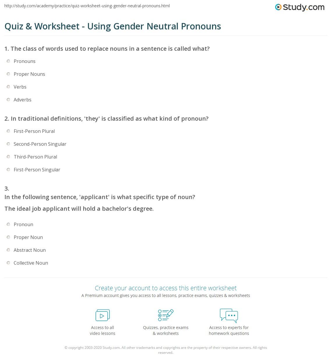 Quiz Worksheet Using Gender Neutral Pronouns – Noun and Pronoun Worksheets