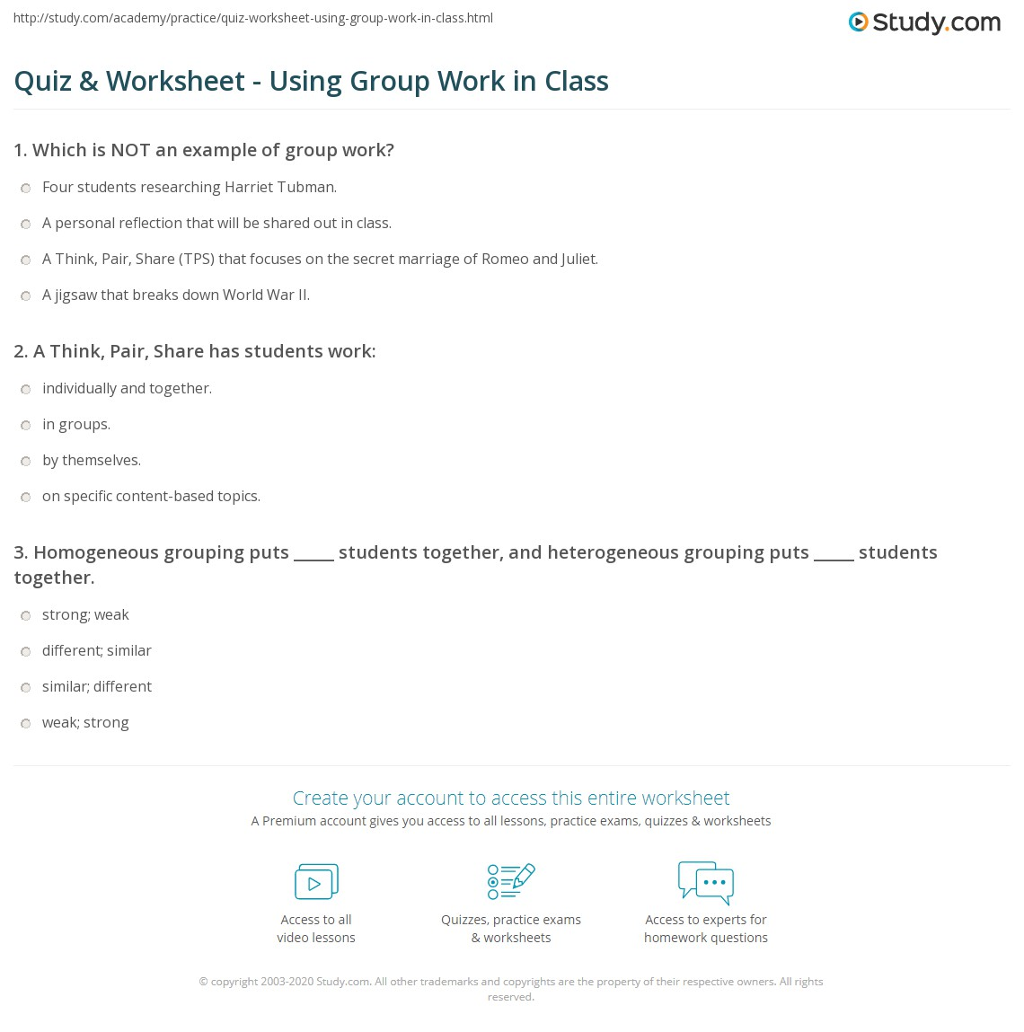 Worksheets Think Pair Share Worksheet quiz worksheet using group work in class study com a think pair share has students work