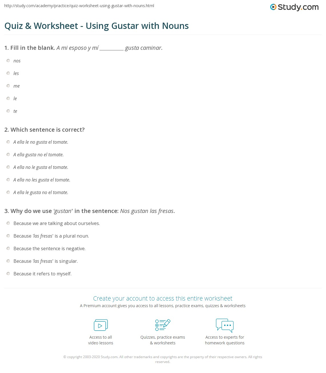 quiz worksheet using gustar with nouns. Black Bedroom Furniture Sets. Home Design Ideas