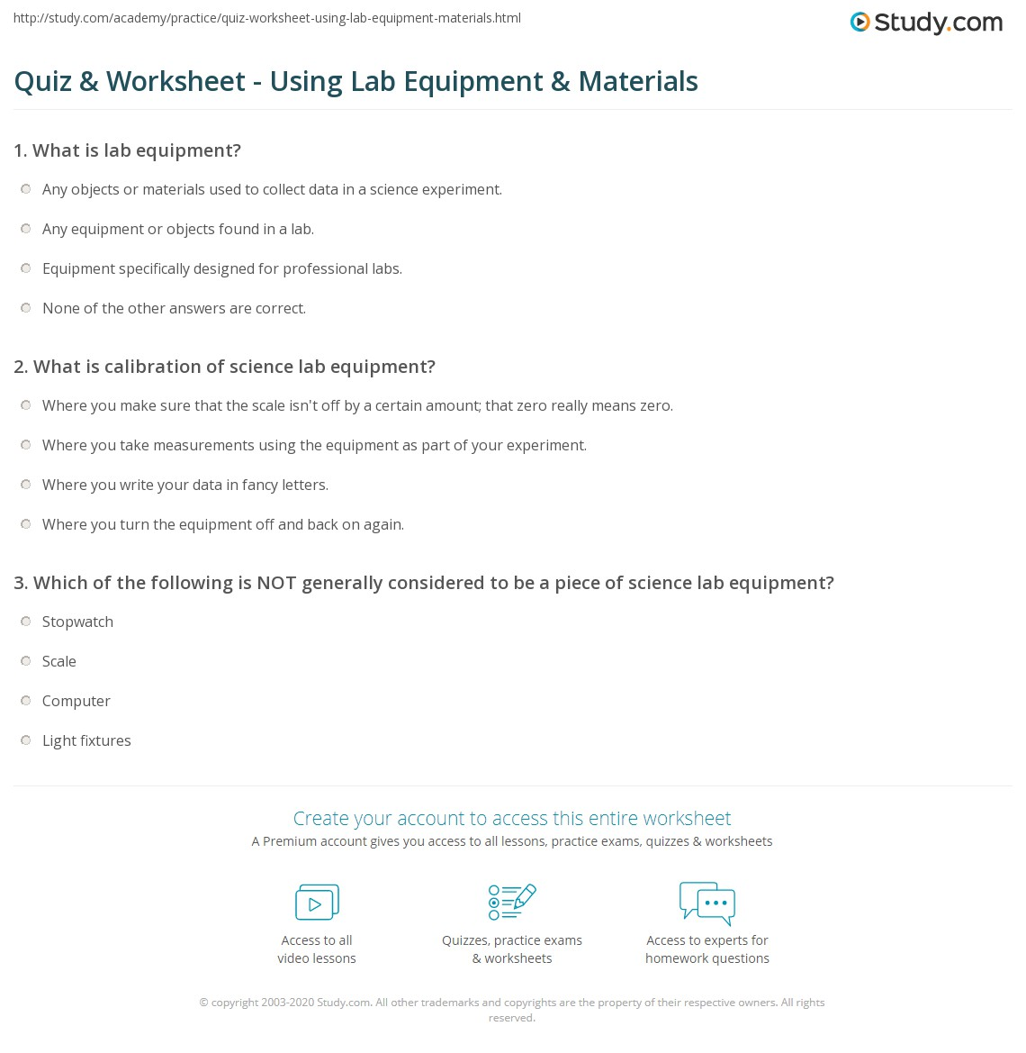 Worksheets Worksheet Lab Equipment quiz worksheet using lab equipment materials study com print how to use science worksheet