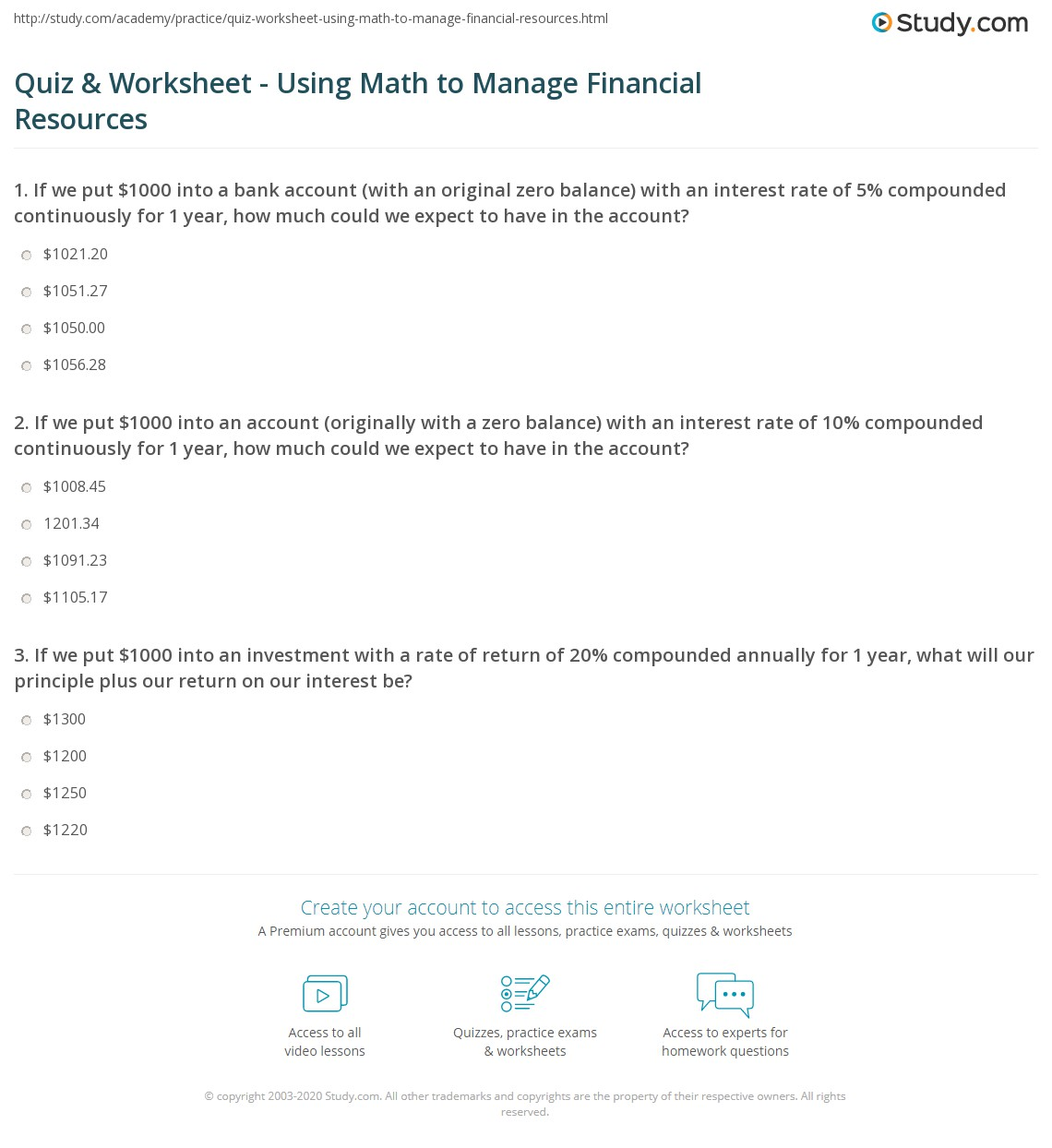 Quiz & Worksheet - Using Math to Manage Financial Resources | Study.com