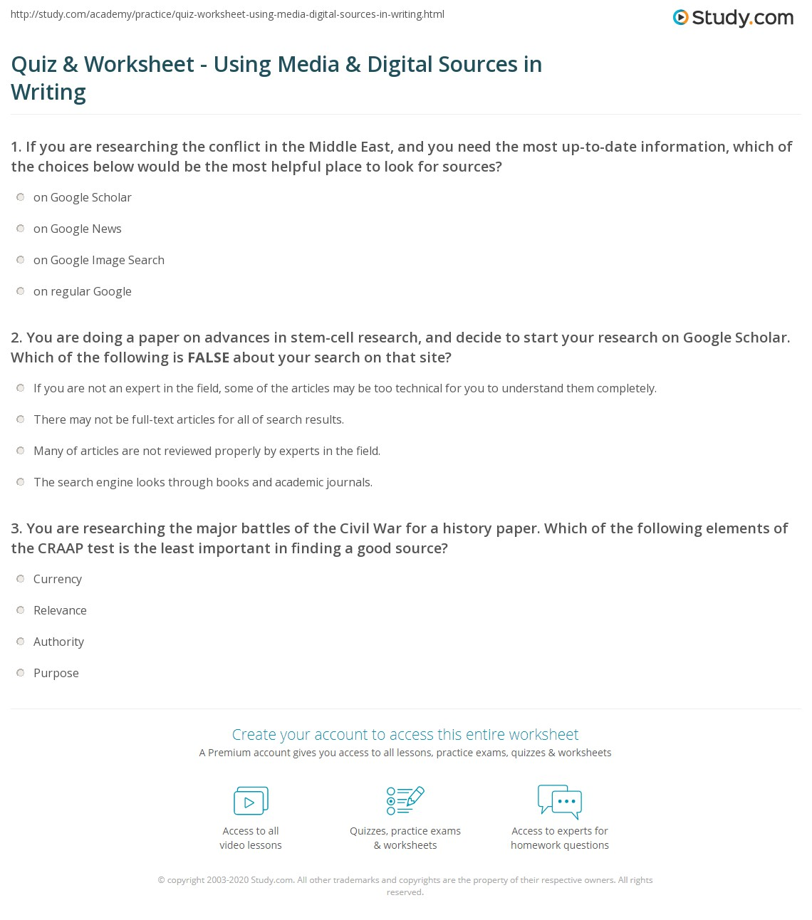 Printables Primary Vs Secondary Sources Worksheet research paper sources worksheet quiz amp using media digital in writing