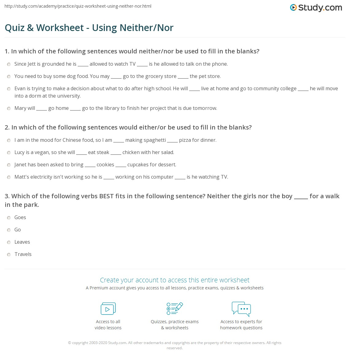 Quiz Worksheet Using Neither Nor Study Com