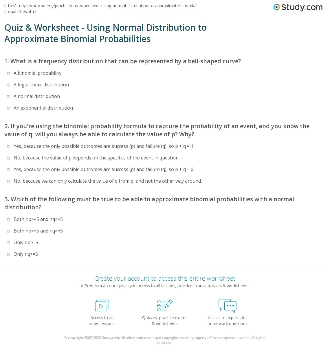 worksheet Probability Review Worksheet quiz worksheet using normal distribution to approximate if youre the binomial probability formula capture of an event and you know value q will always b