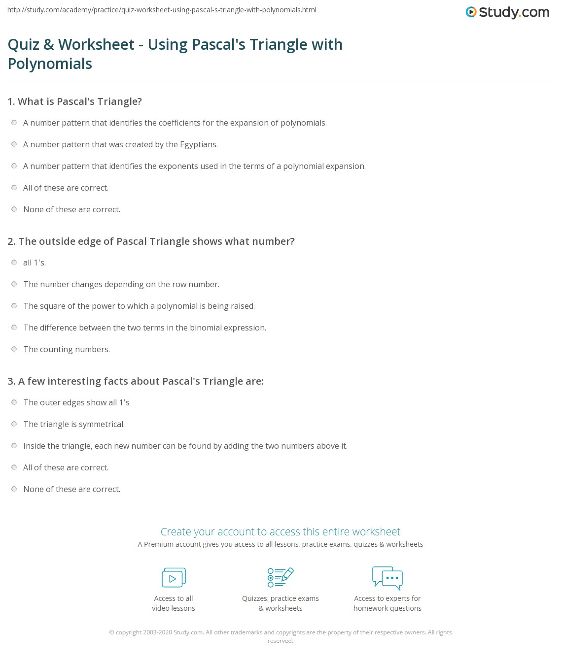 quiz worksheet using pascal 39 s triangle with polynomials. Black Bedroom Furniture Sets. Home Design Ideas
