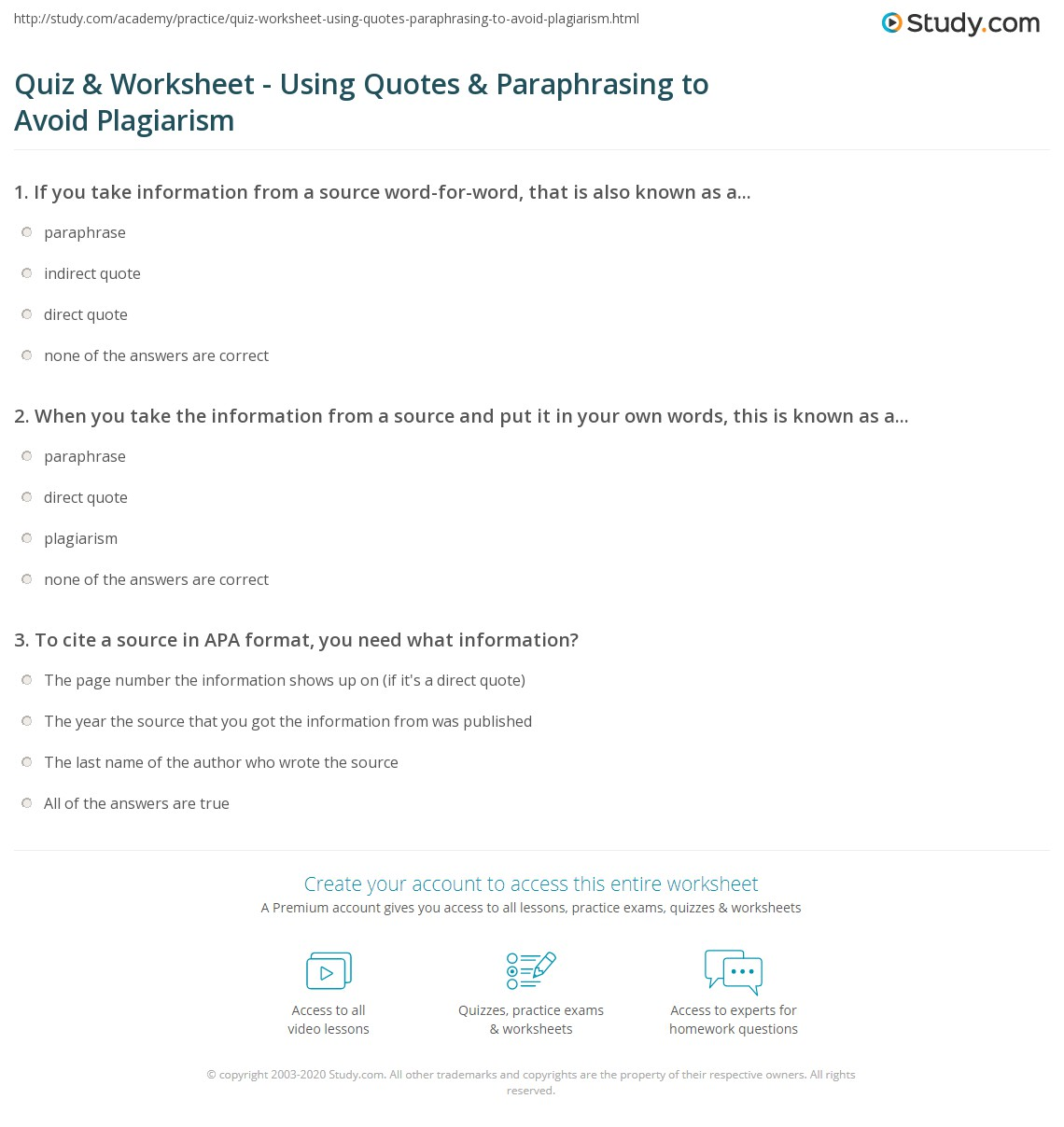 Quiz Worksheet Using Quotes Paraphrasing to Avoid Plagiarism – Paraphrasing Worksheets